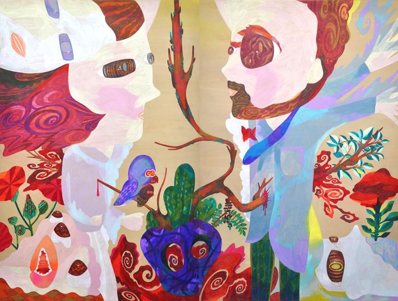 Keito no hana,   2013  1.6m x 1.2m  Acrylics and Colour pencils on wood