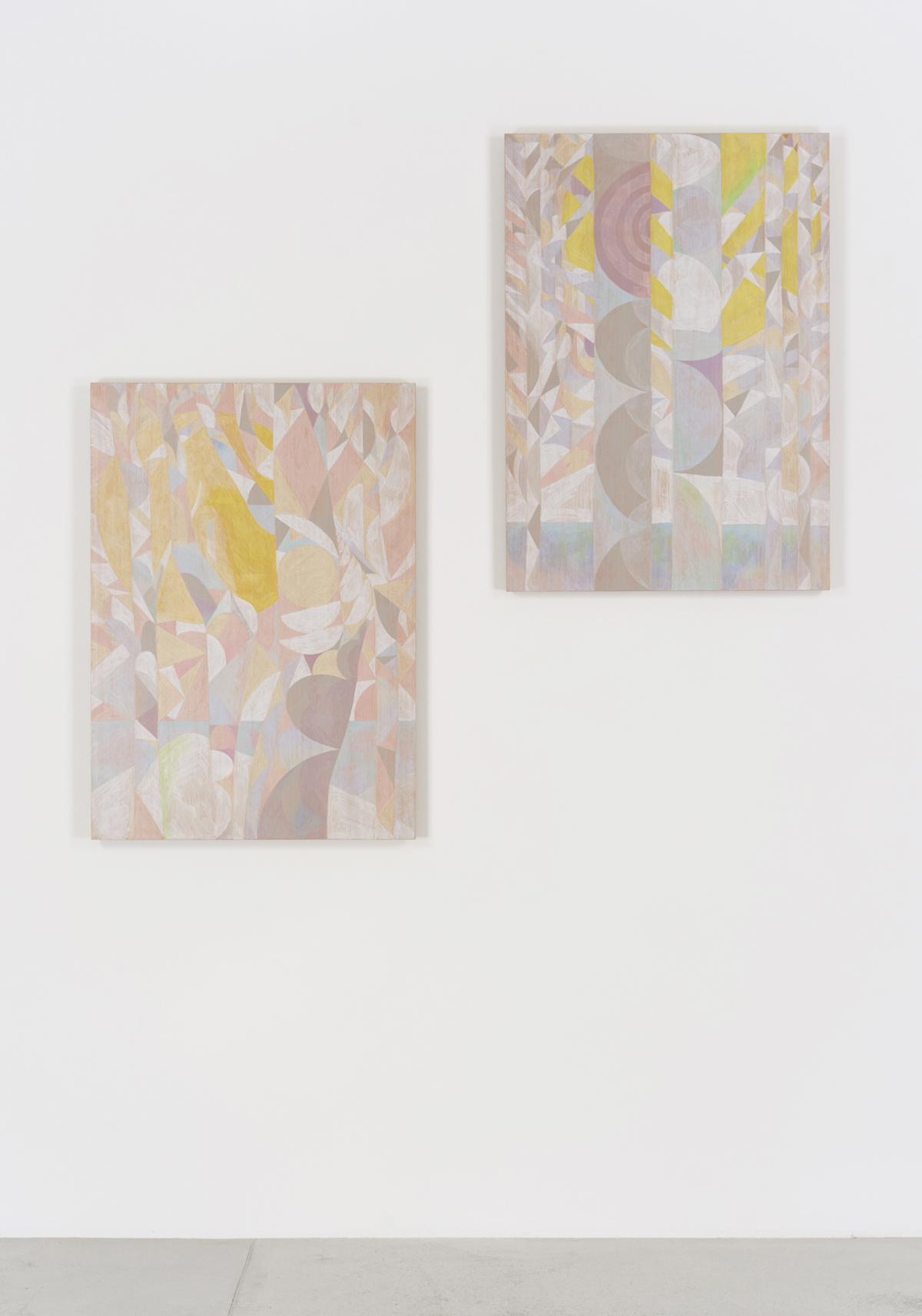 The Invisible Seascape (Hiroshima),   2017 (Right)    The Invisible Landscape (Hiroshima)  ,   2017 (Left)  88cm x 62.5cm  Colour pencils on wood  Installation View at Maho Kubota Gallery