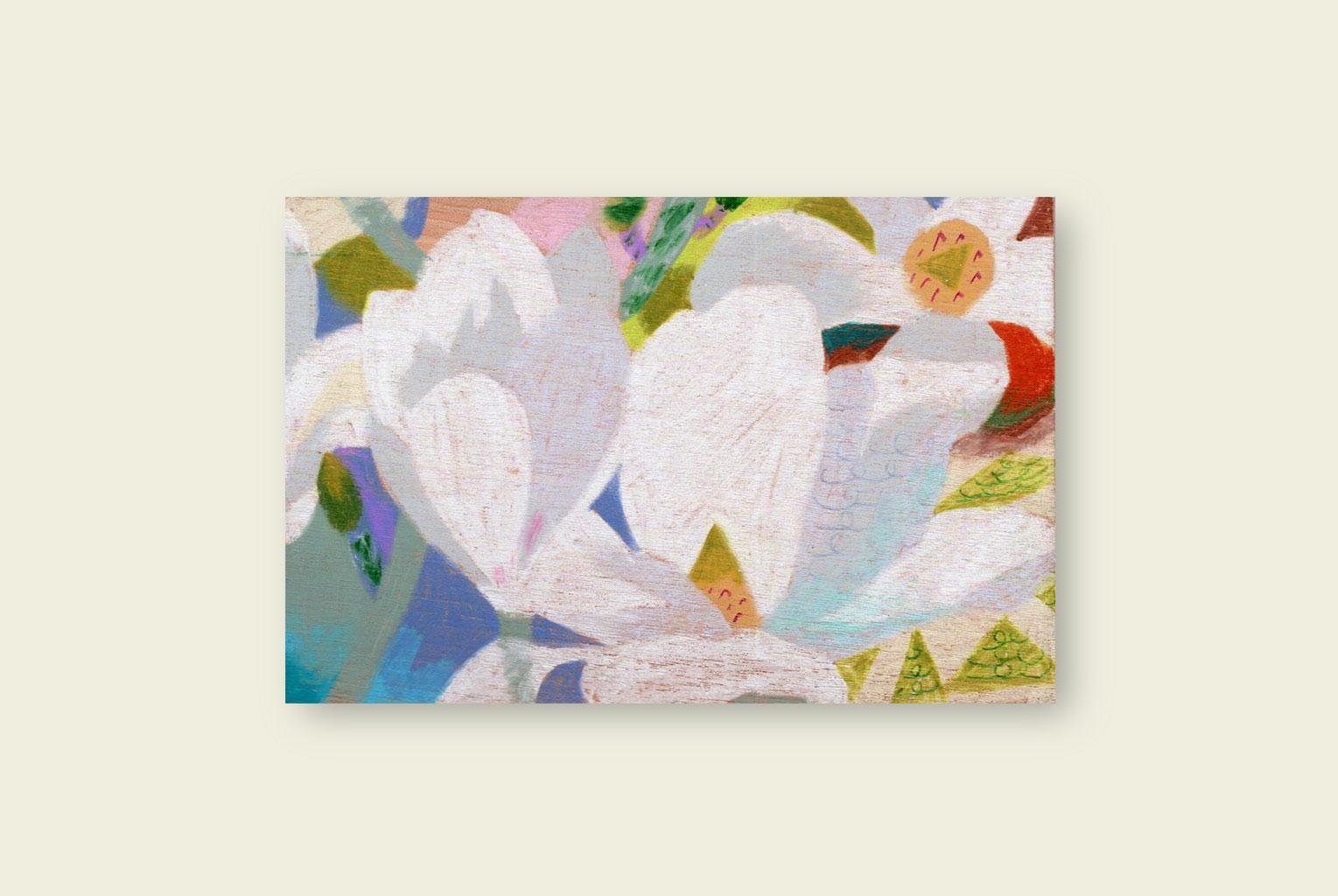 Mokuren-Onomichi,   2018  15cm x 9.9cm  Colour pencils on wood