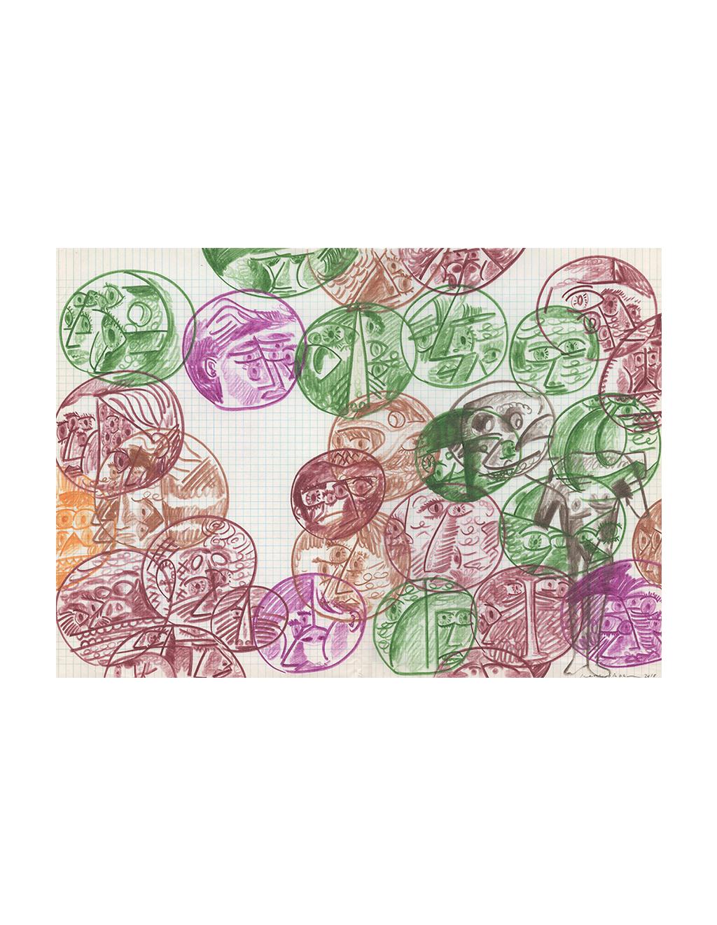 Drawings - Times,   2018  42cm x 29.5cm  Colour pencils on paper