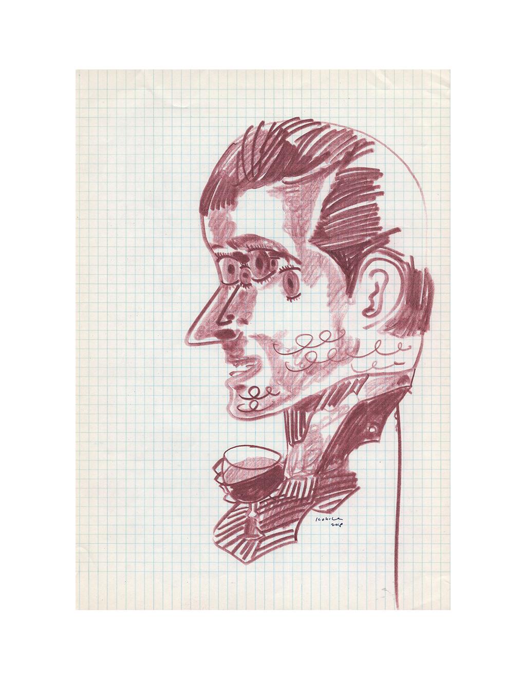 Drawing - The man 1909,   2018  21cm x 29.5cm  Colour pencils on paper