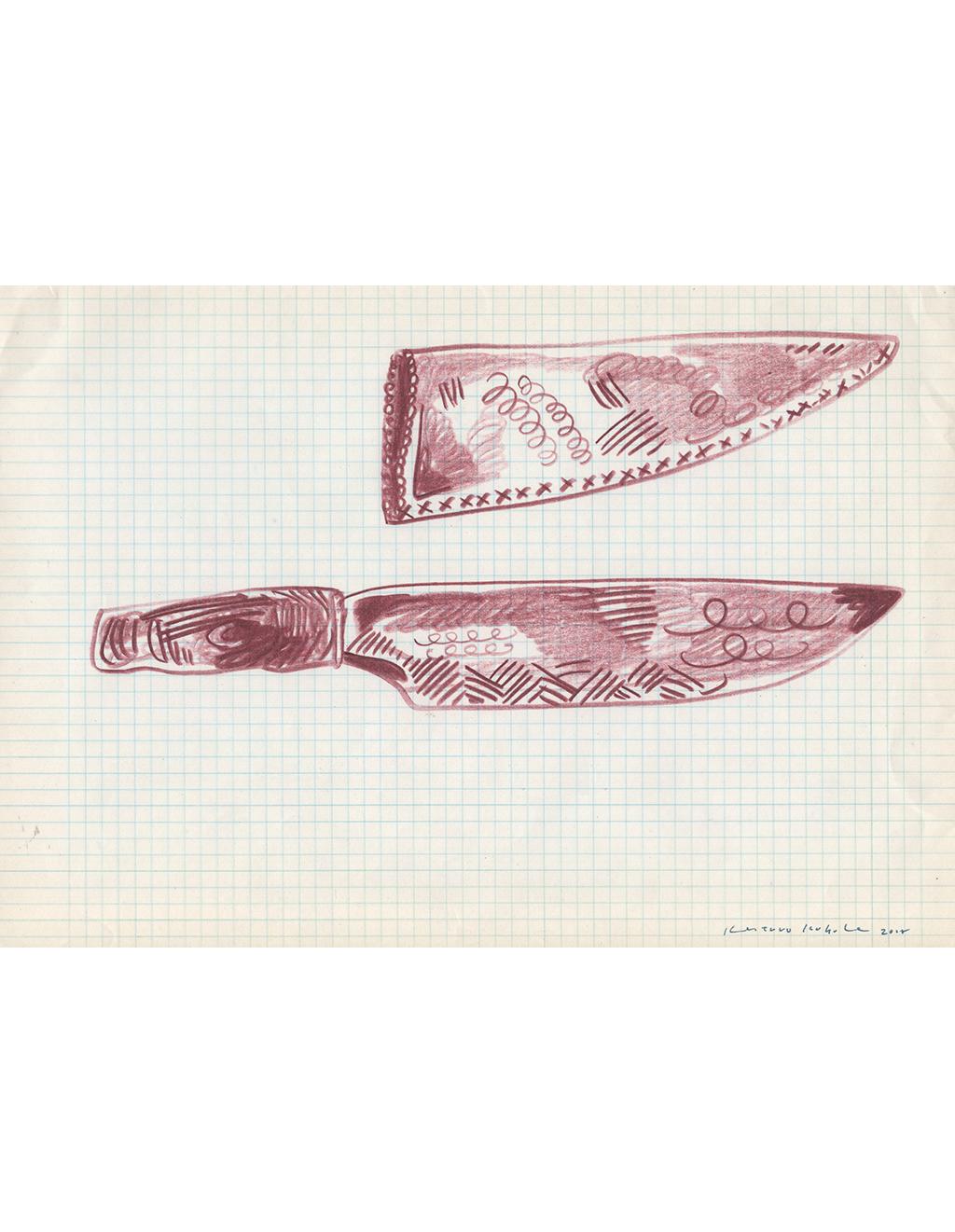 Drawing - Knives,   2018  29.5cm x 21cm  Colour pencils on paper