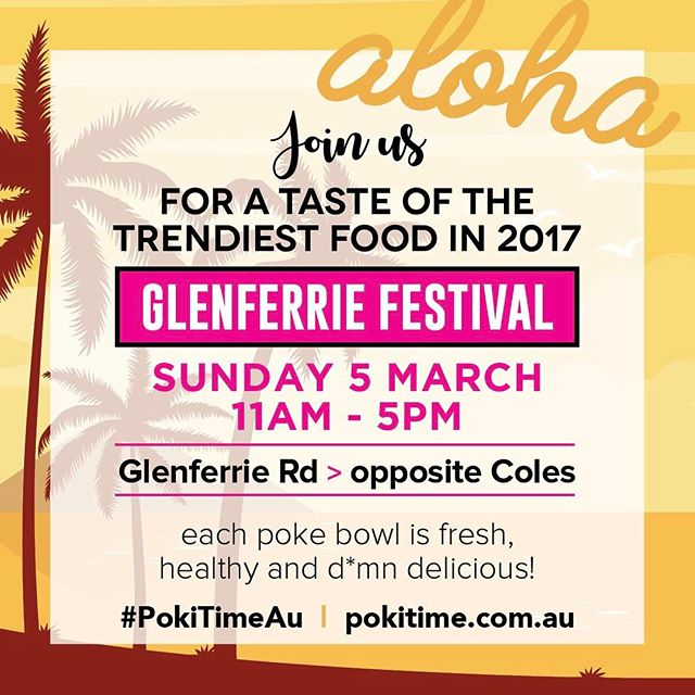 Melbourne's top 10 venues to eat is having a stall at the Glenferrie Festival.  Come grab a Poke bowl and join the health revolution.