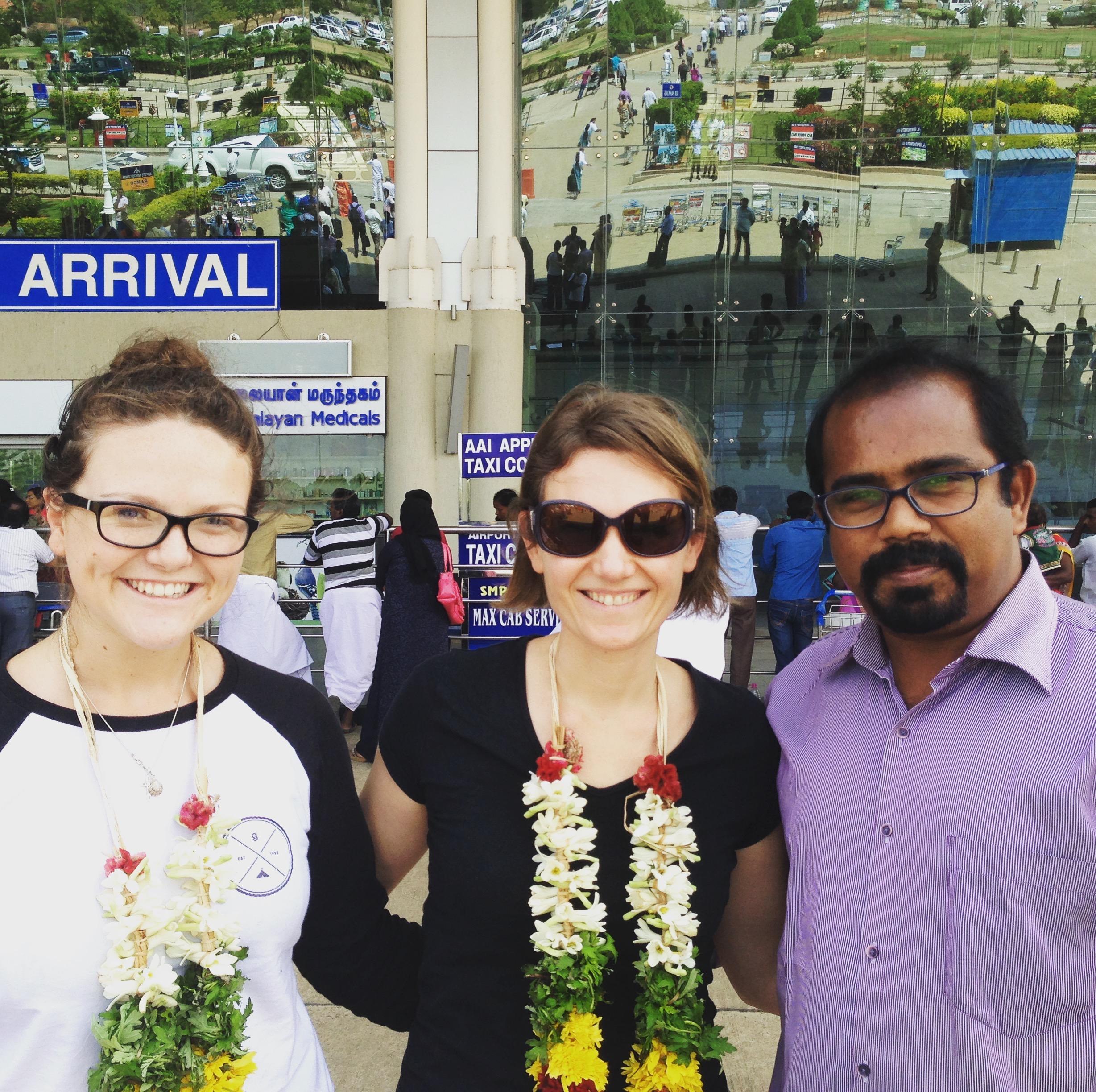 Alice, Sherry and Ruban at Madurai airport