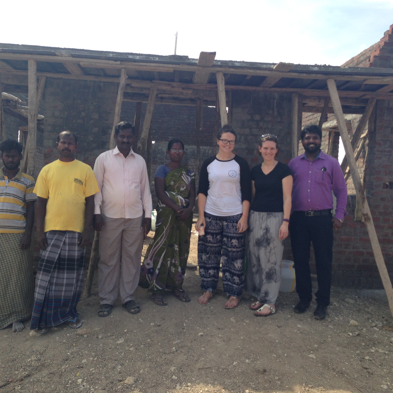 2 local builders, Pastor Thomas, Jegajothi, Alice Hepworth (HTC, UK), Sherry Secker (Rhema Partnership, UK), Gold Milan (Superintendent - Rhema Gardens, India)