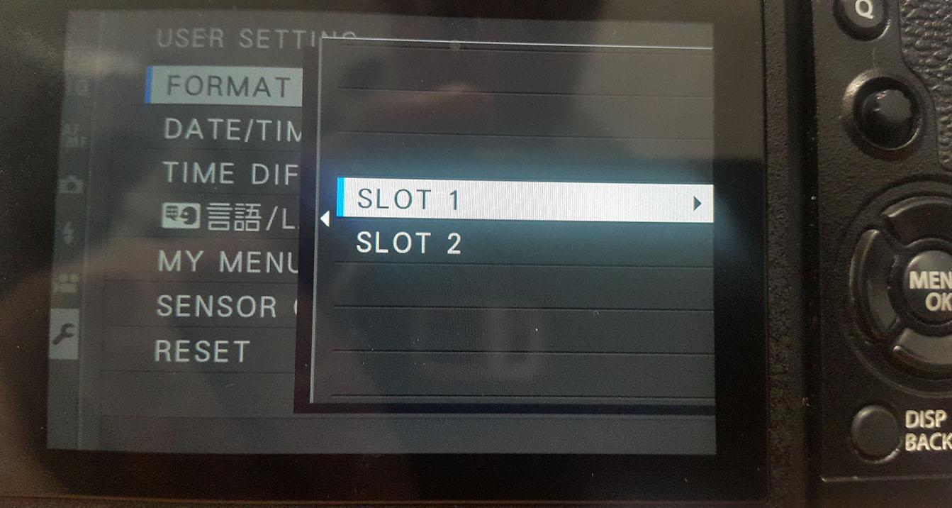 fujifilm xt-2 camera menu