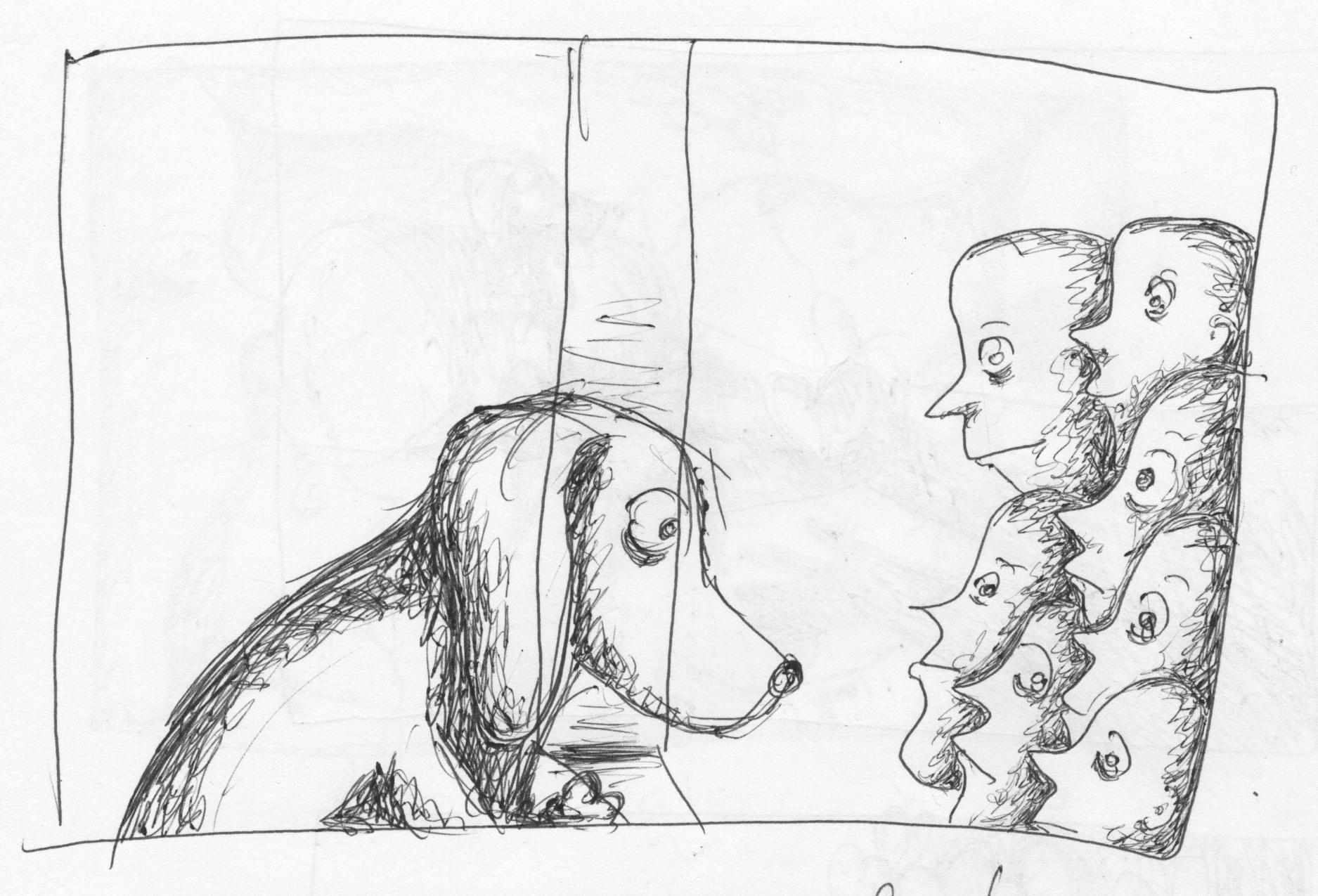 Beagle Looks at People