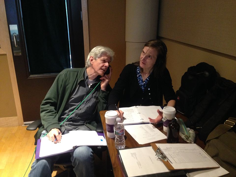 Signe Baumane and Sturgis Warner during the West Coast actor recording sessions.