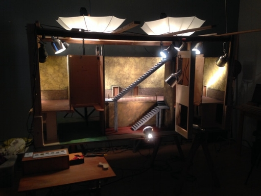 The set is lit and ready for the camera
