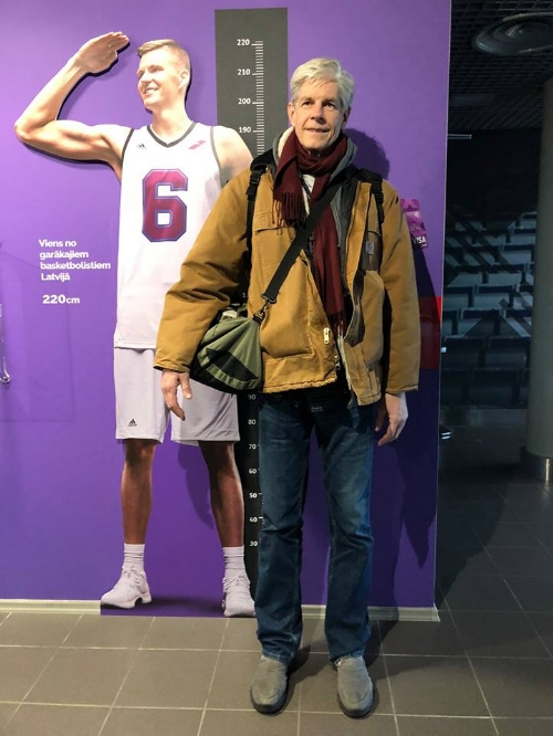 "Kristaps Porzingis, at 7'3"" the most famous (and tallest) Latvian in NY. (Sturgis Warner added to photo for size comparison)"