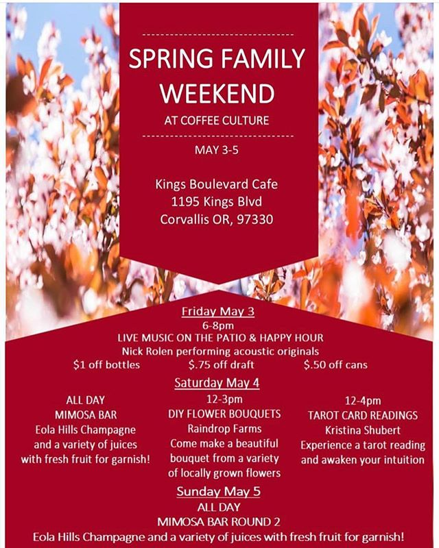 Check our what we have planned for #OSUFamilyWeekend! . . LIVE MUSIC FRIDAY NIGHT MAY 3rd 6-8pm. Featuring Nick Rolen, performing acoustic originals. . . . DIY FLOWER BOUQUET POP UP. Featuring @raindropfarms Choose from a variety of locally grown flowers to put together your very own bouquet! Saturday 12-2 . . .MIMOSA BAR. Featuring @eolahills champagne. Choose from a variety of juices and garnishes to make your perfect weekend mimosa! Available all Saturday & Sunday. . . . TAROT READINGS, with Kristina Schubert. May 4th 12-4. Have your tarot read and awaken your intuition!