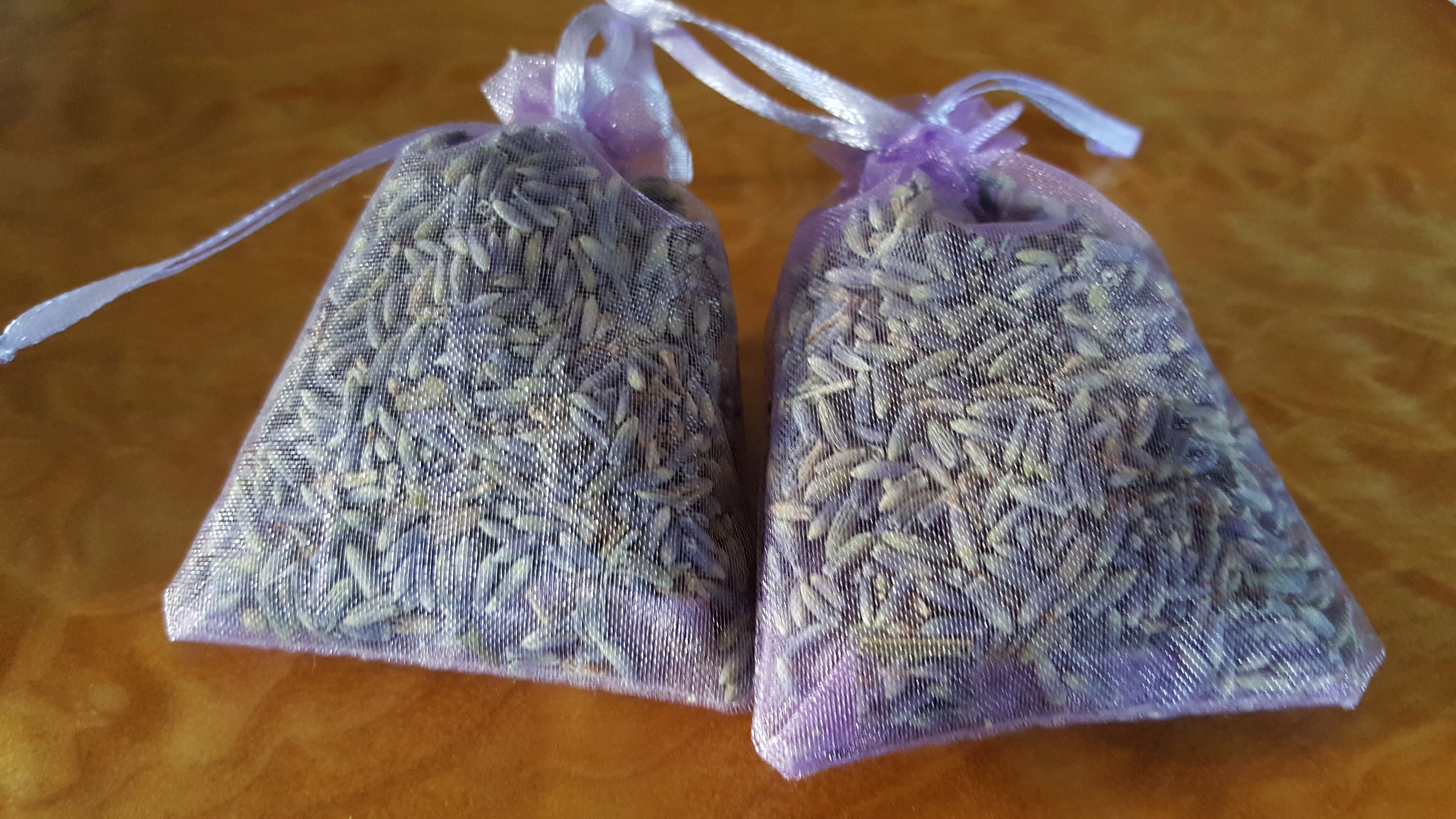 Lavender sachets purchased from the Corvallis Farmers market - I tuck them underneath my pillows at night for a soothing, relaxing sleep