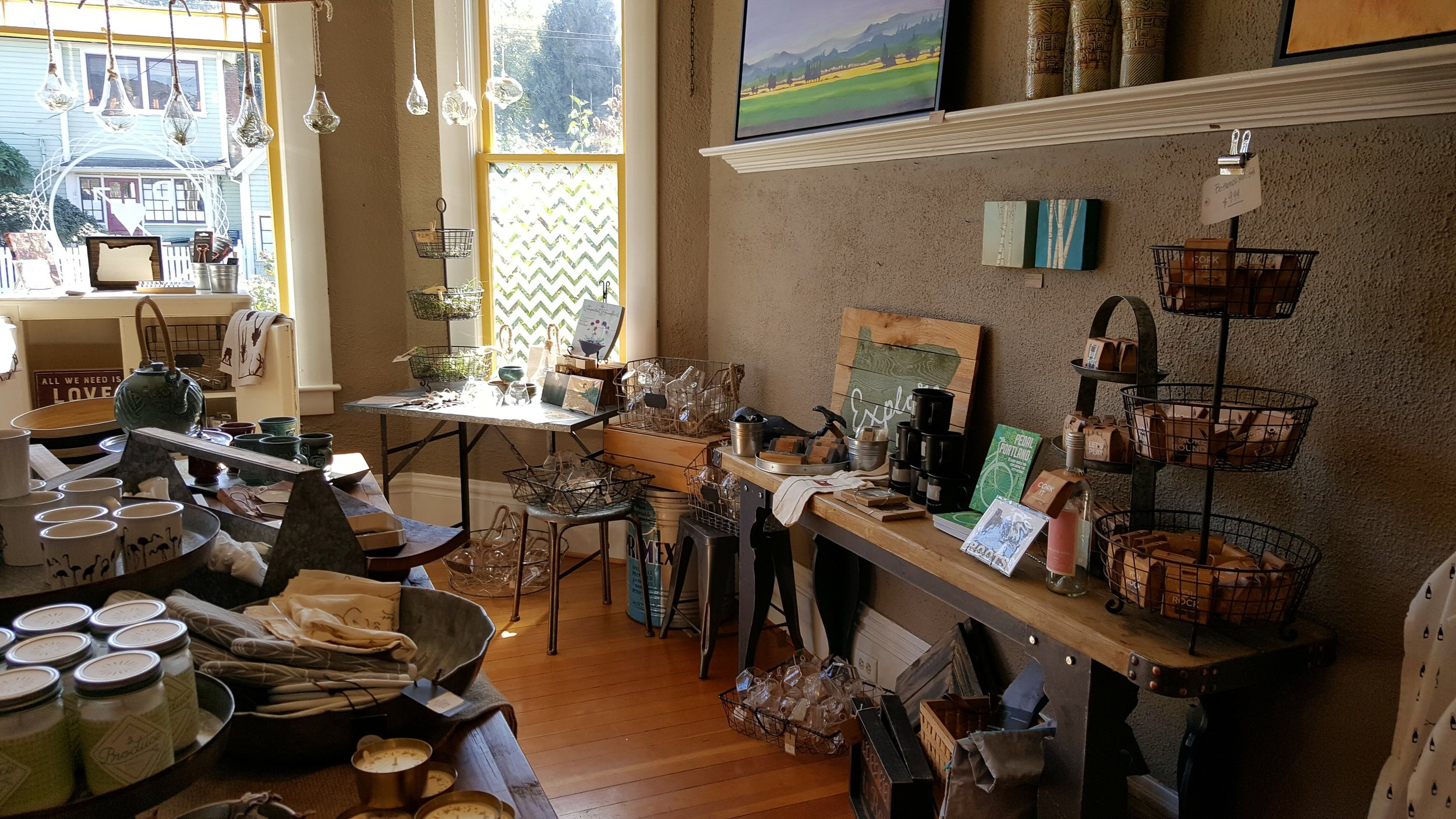 The dining room is stocked with home goods and accessories
