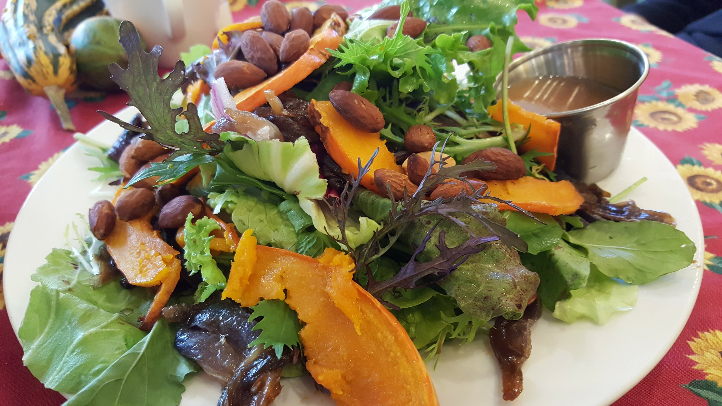 Squash and almond salad with saute peppers