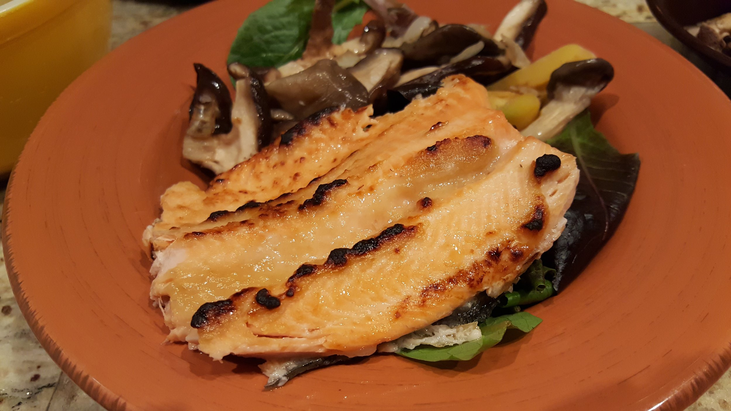 Miso glazed trout over bed of greens- SO GOOD!