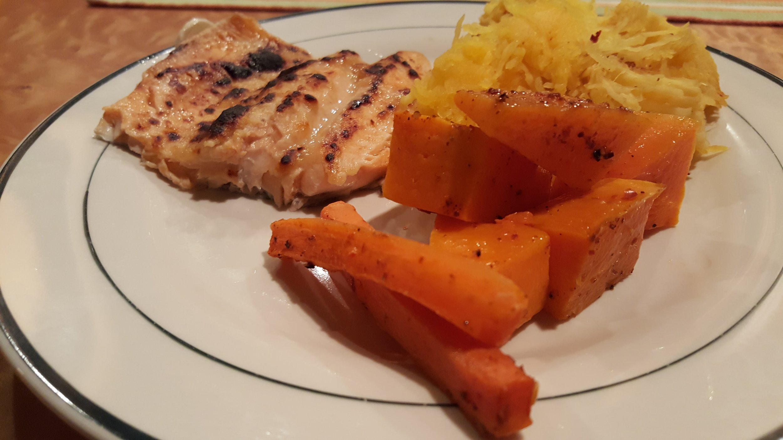 Trout, spaghetti squash and roasted carrots