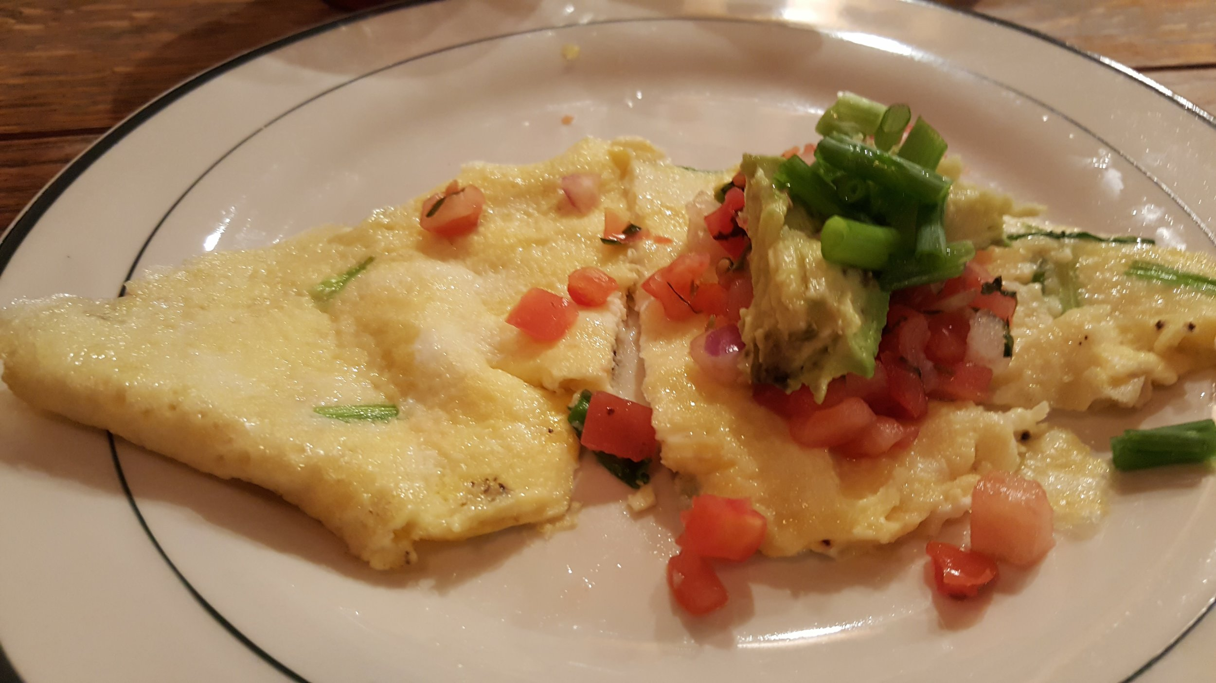 Omelette with salsa – I would wrap the omelette around the salsa like a burrito