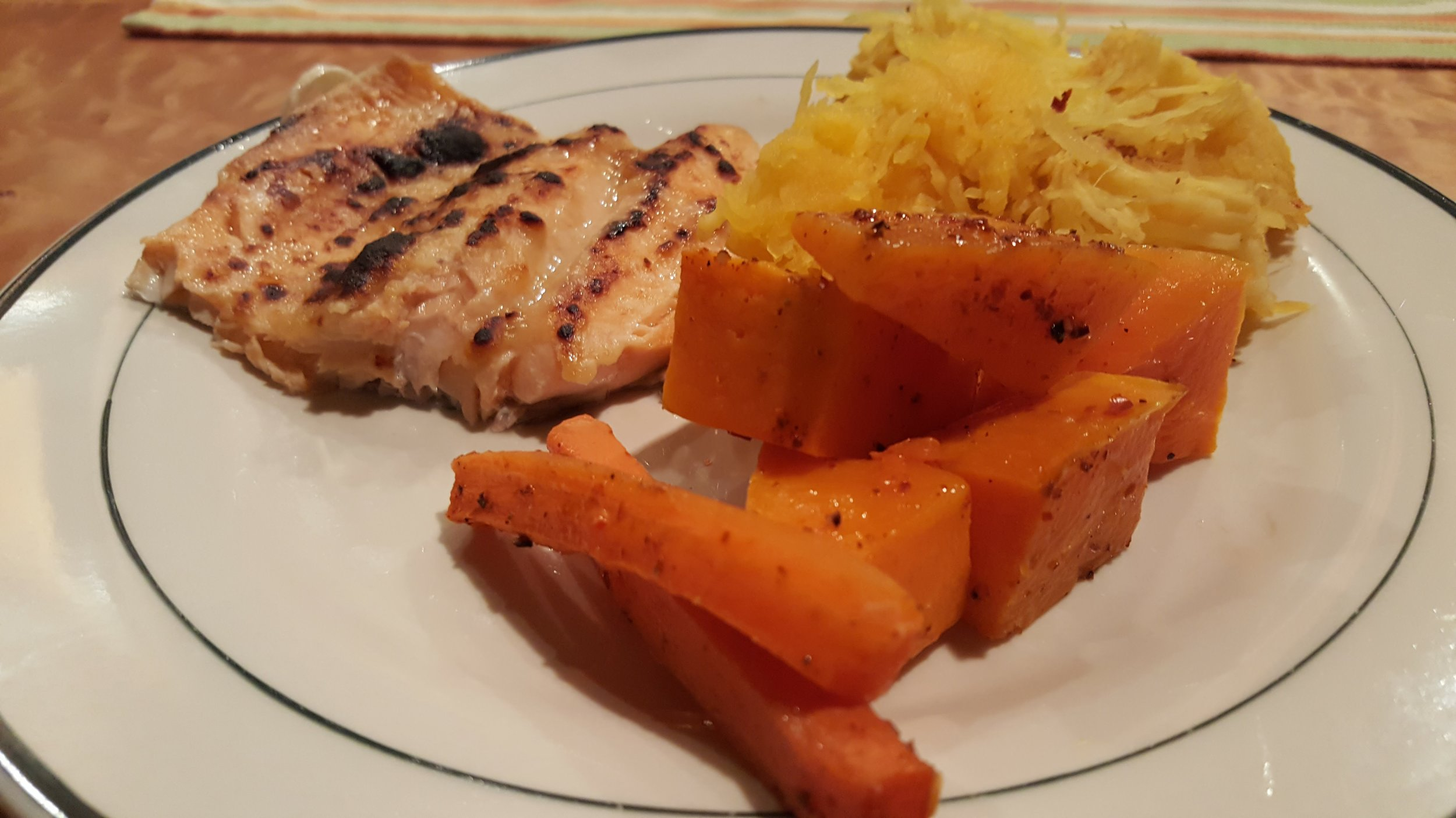 miso glazed trout, roasted carrots and spaghetti squash