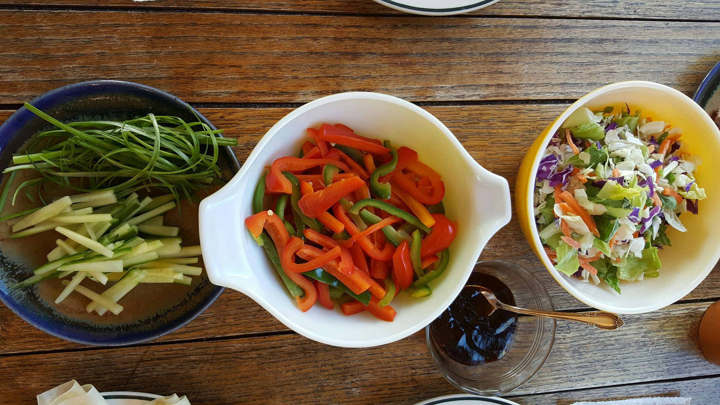 The vibrant colors of the vegetables are what is going in my body. The peppers are sauteed in olive oil and have a sweetness to them.