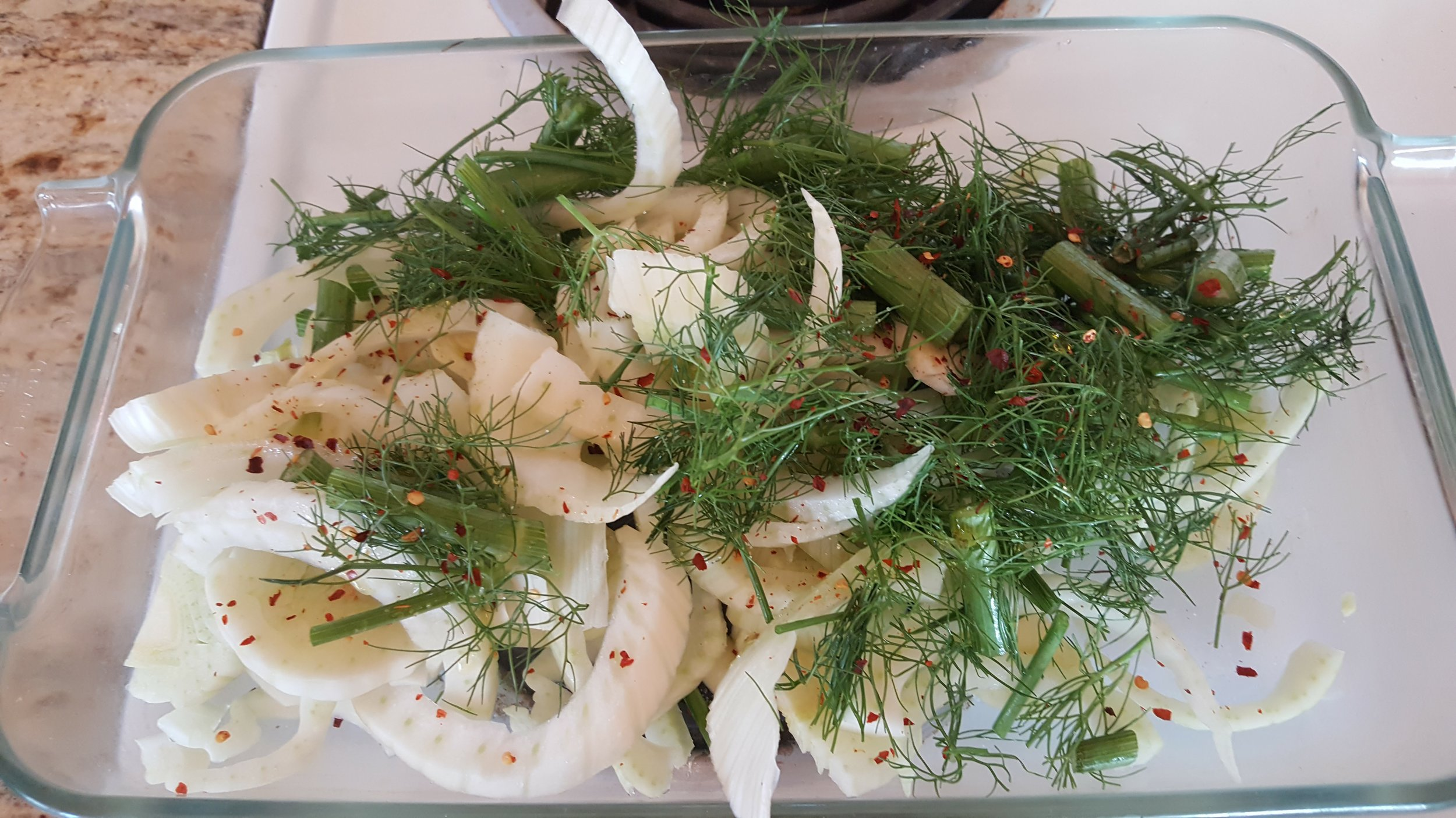 Roasted fennel with chili flakes. It takes about 45 minutes in the oven @ 400 degrees. You can even modify this with other seasoning if you wish.