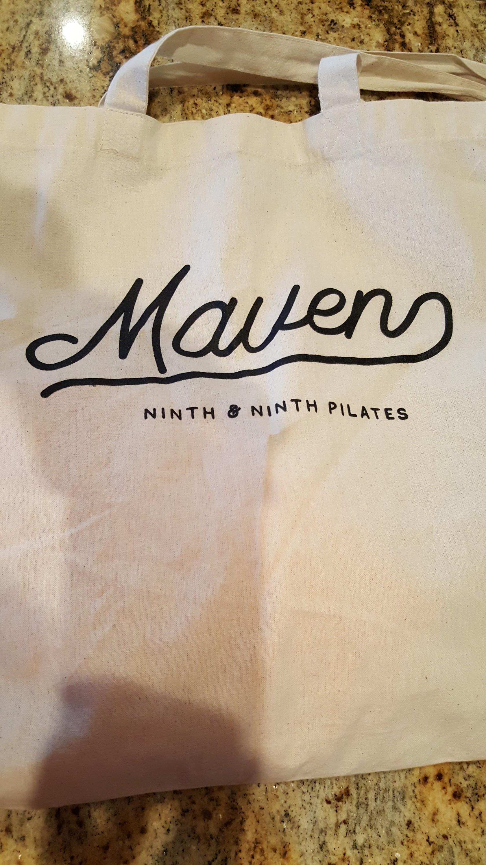 Souvenir tote bag from 9th and 9th Pilates in Salt Lake Utah