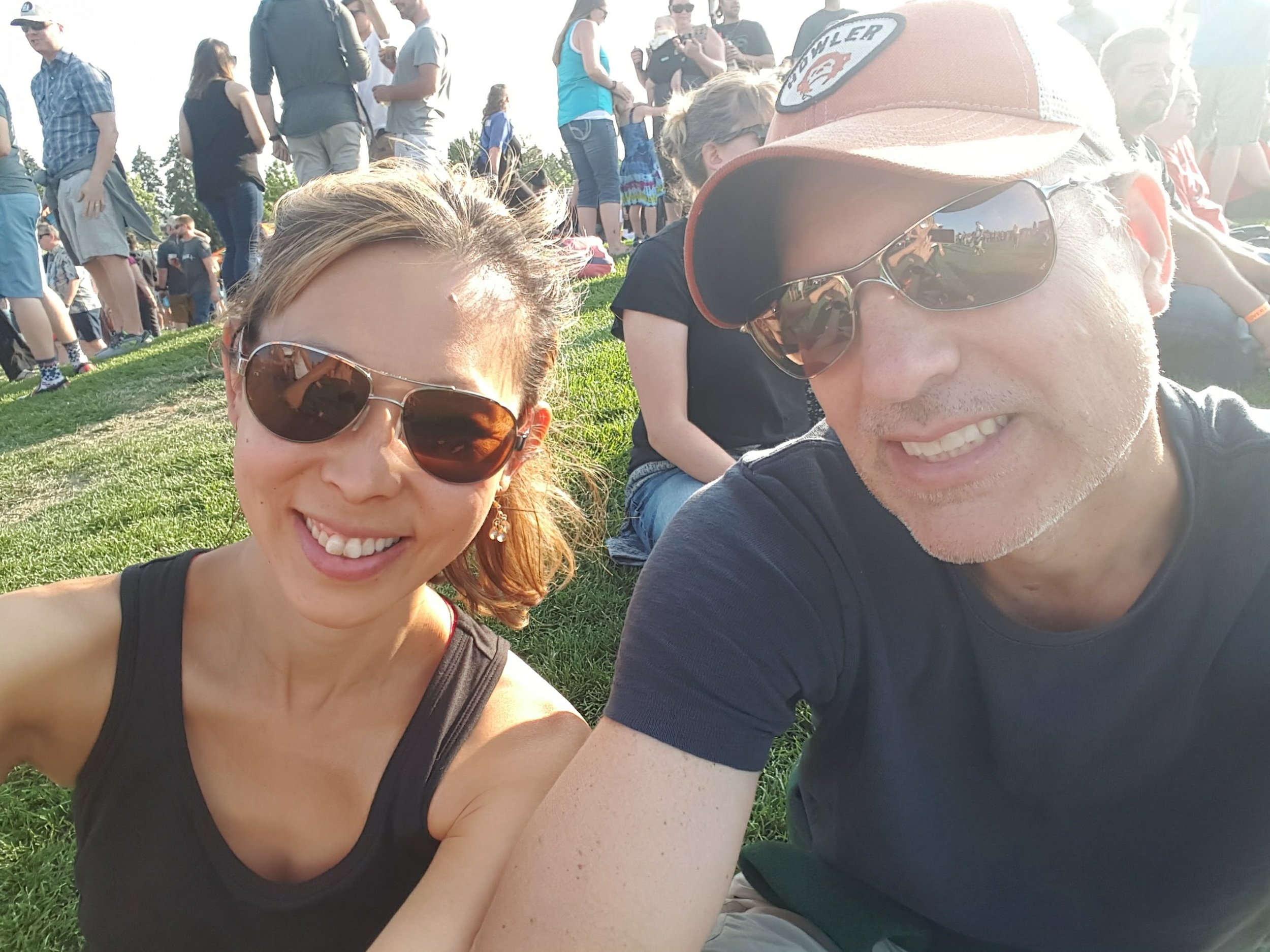 Jack Johnson concert - clowning around. It was a spectacular view of the sunset