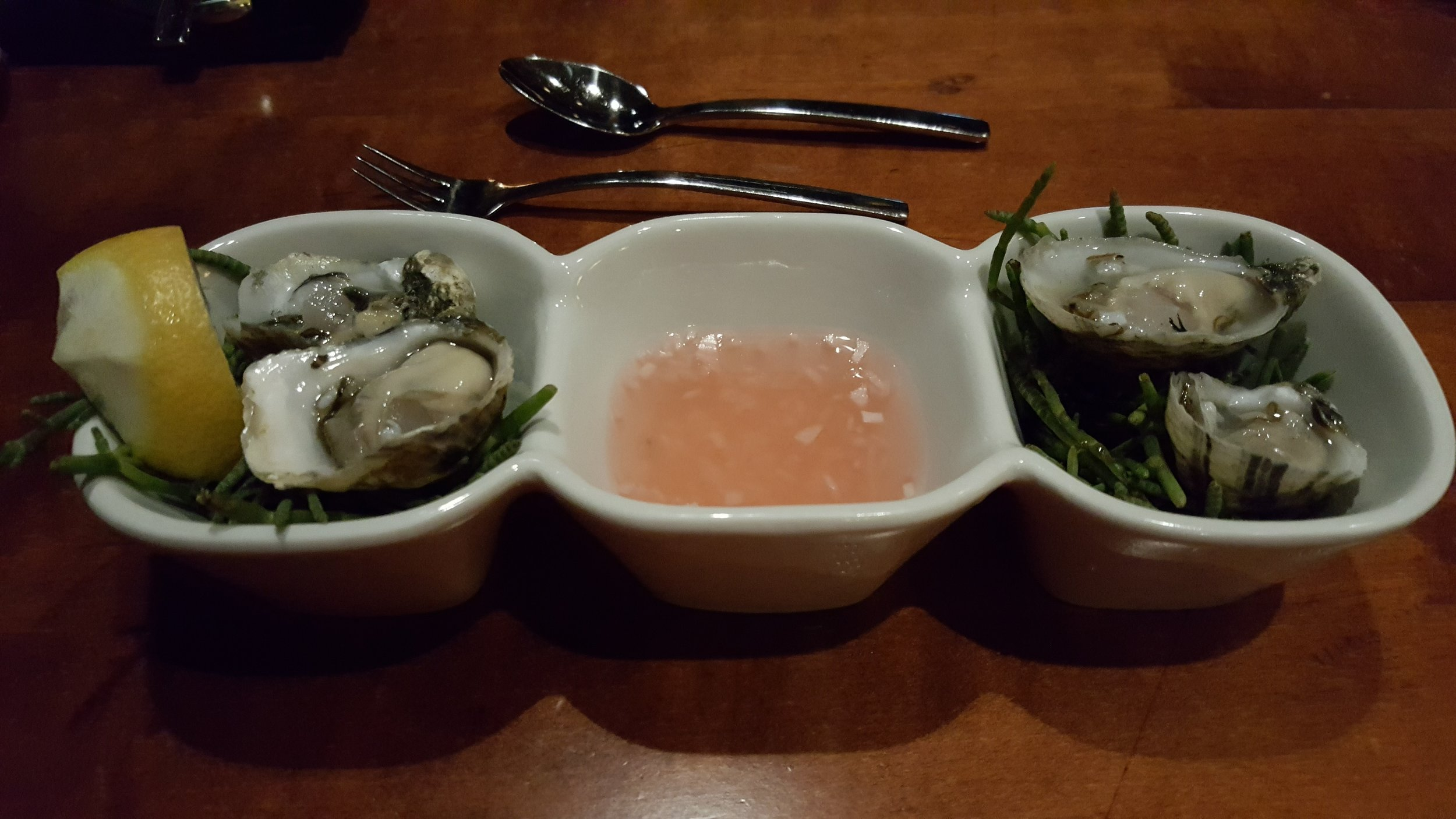 Oysters are part of a 3 course meal at The Samphire