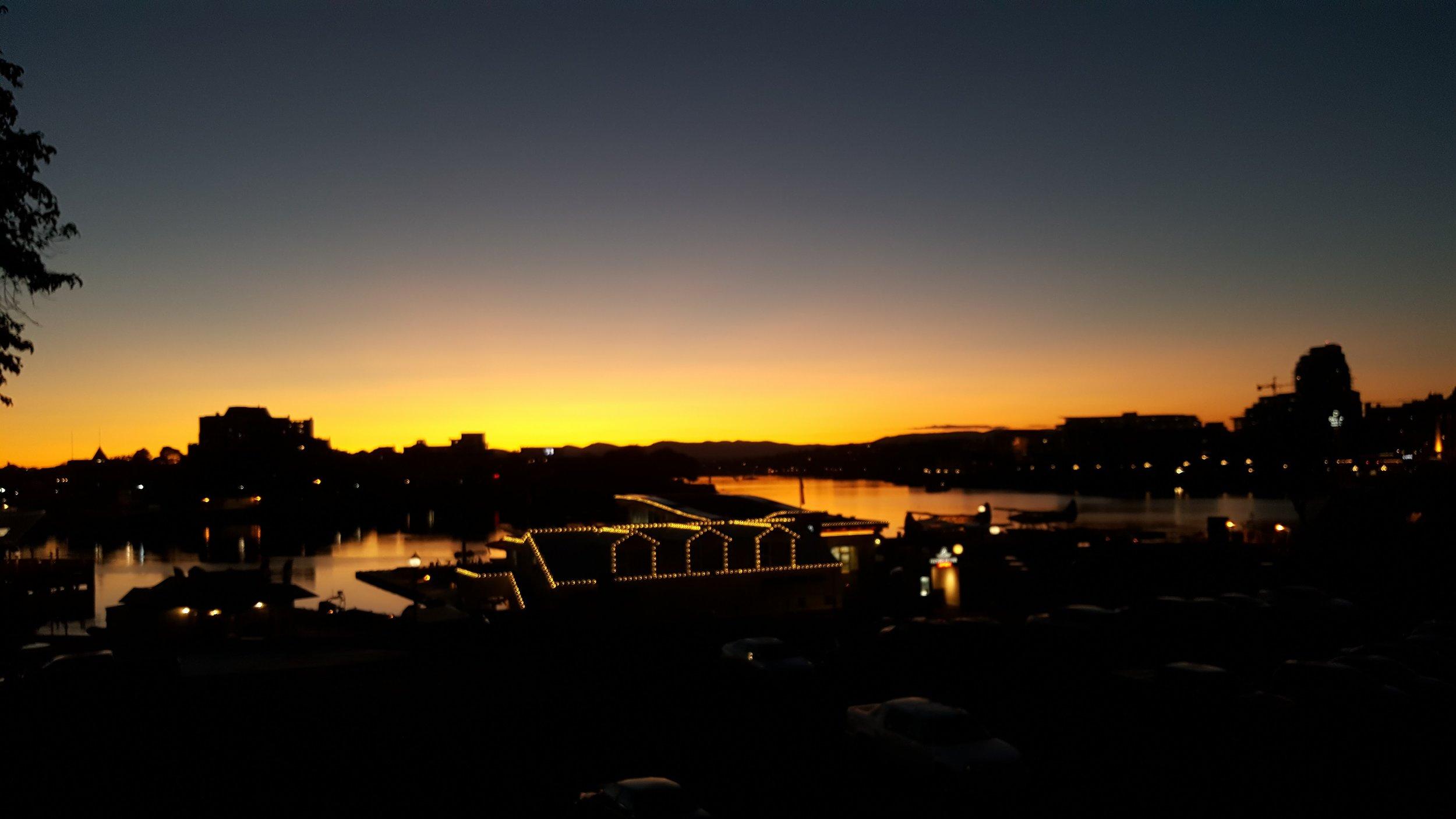 Solitary stroll along the Inner Harbour at sunset