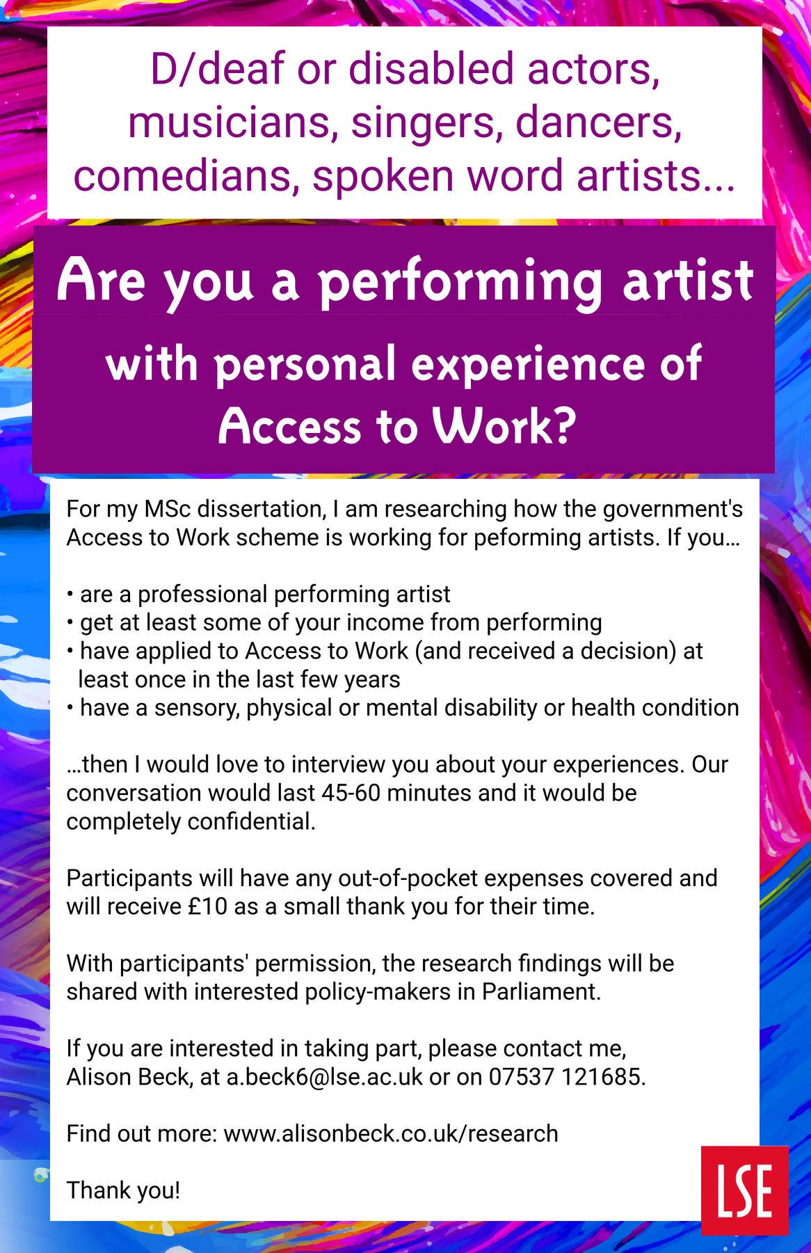 Performing artists and Access to Work - research flyer.jpg
