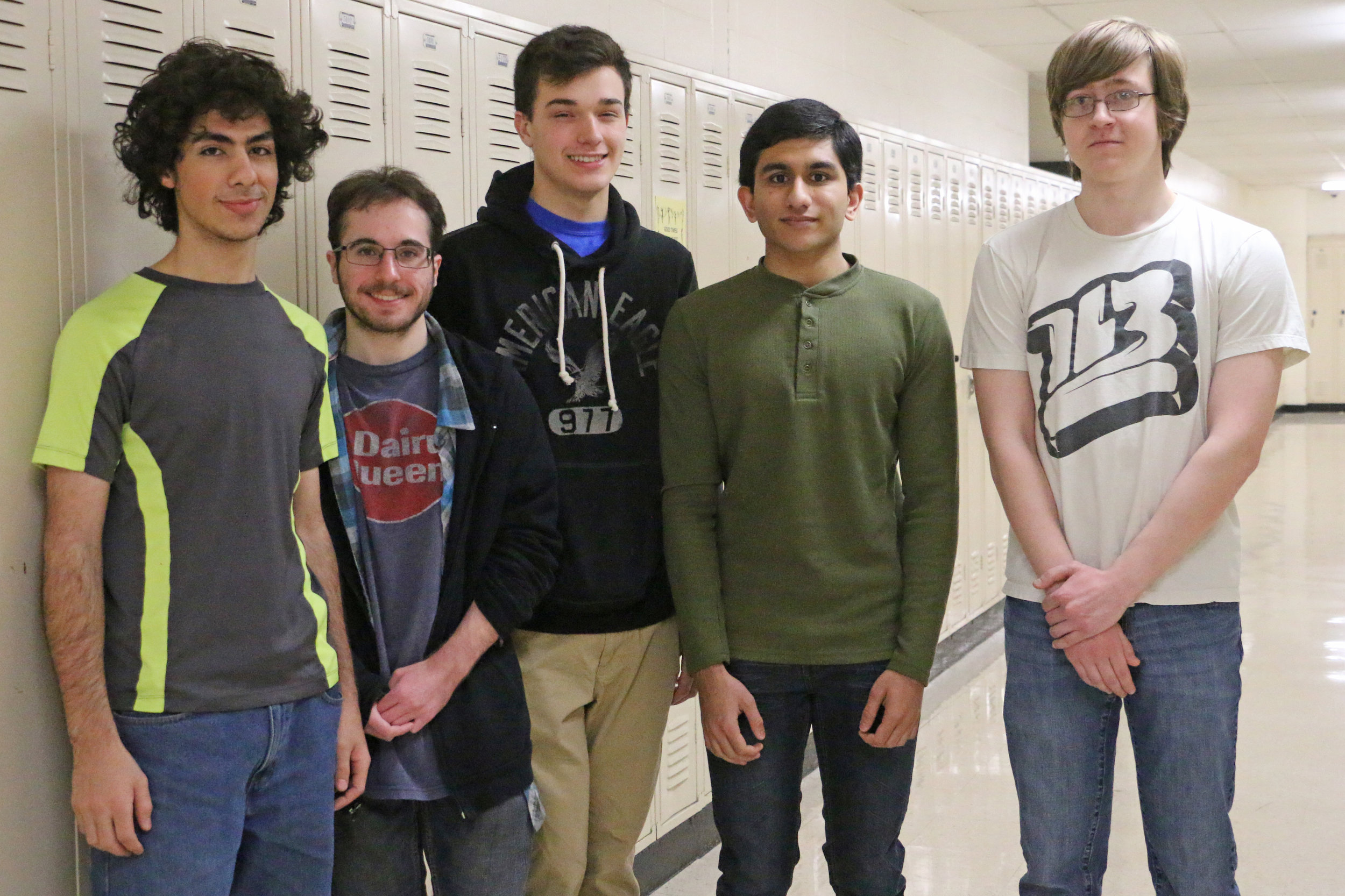 Hersey students Yousef Awmrin, John Labuda, Luke Allen, Mark Thomas and Patrick Piatek were named the third best team in Illinois's CyberPatriot IX State Round.