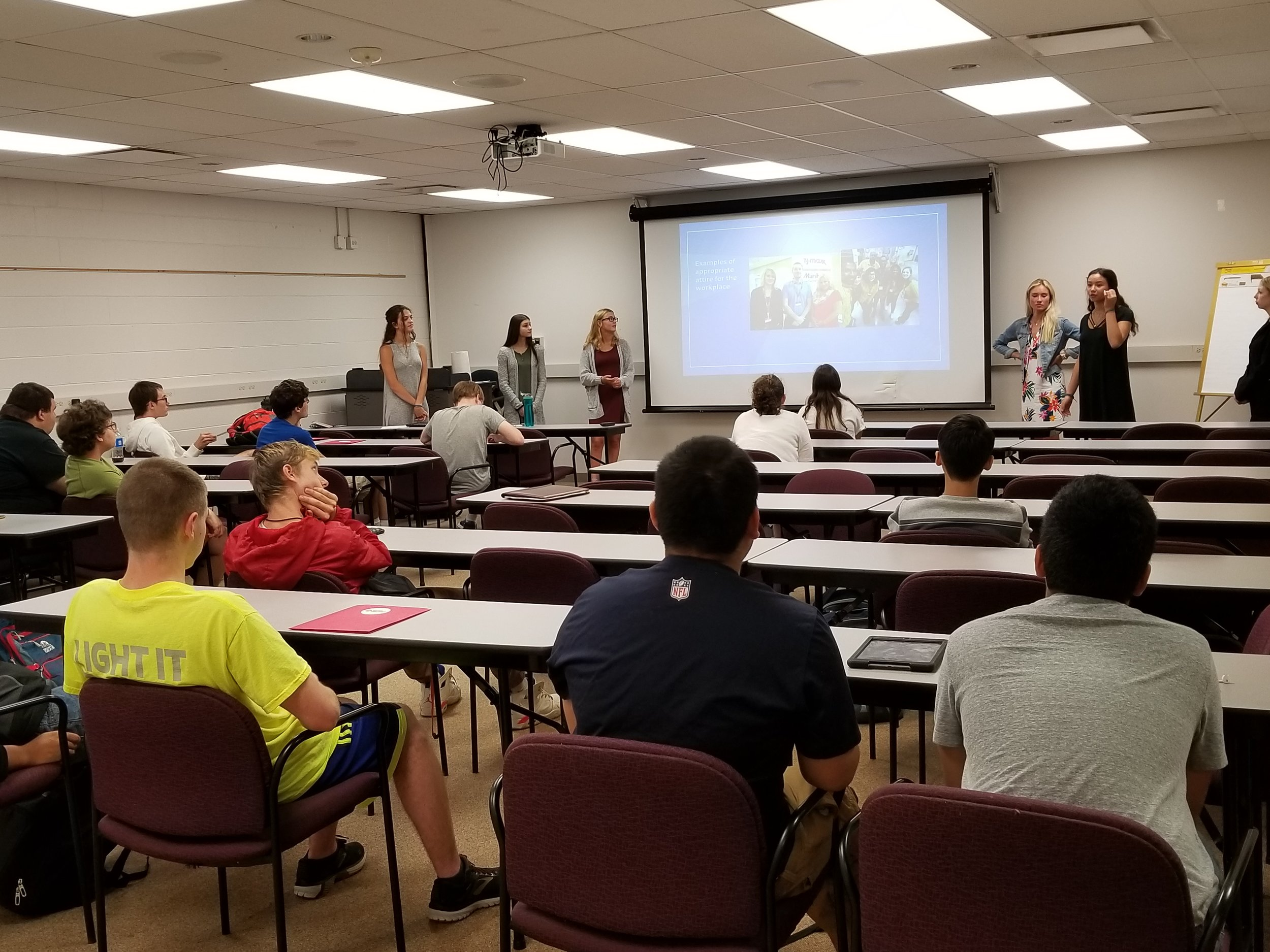 Students in District 214's Education Academy course taught lessons to students in the Career Ready Boot Camp.