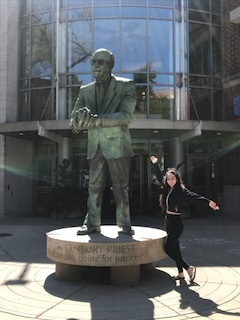 Tanya Sarkis stands on the depaul university campus. Her dual credit courses in District 214 helped her earn 18.5 college credits (Photo provided by tanya Sarkis).