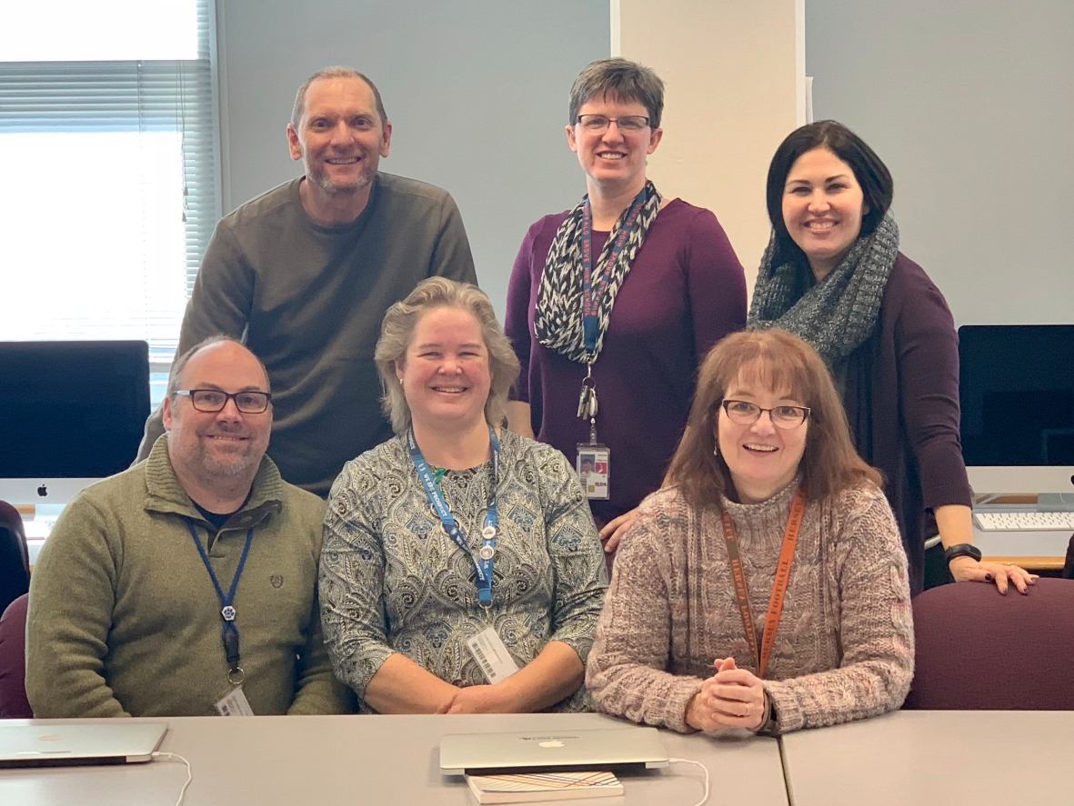 District 214's libraries were named 2019 National School Library of the Year. District 214 Head Librarians include (top row, left to right) Mike Kic, Kim Miklusak, Dawn Ferencz, (bottom row, left to right) Barry Hanrahan, Christie Sylvester and Katie Alexander. Photo provided by Gabriella Stetz Jackson.