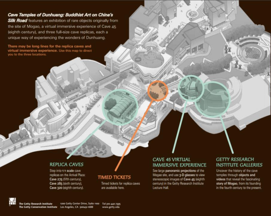 Map of the three exhibition areas within the Getty Center ©J. Paul Getty Trust.