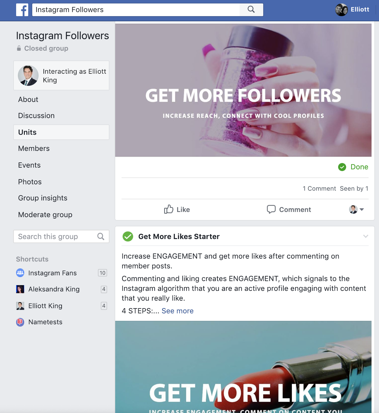 Facebook Instagram Engagement Group for getting Instagram Followers