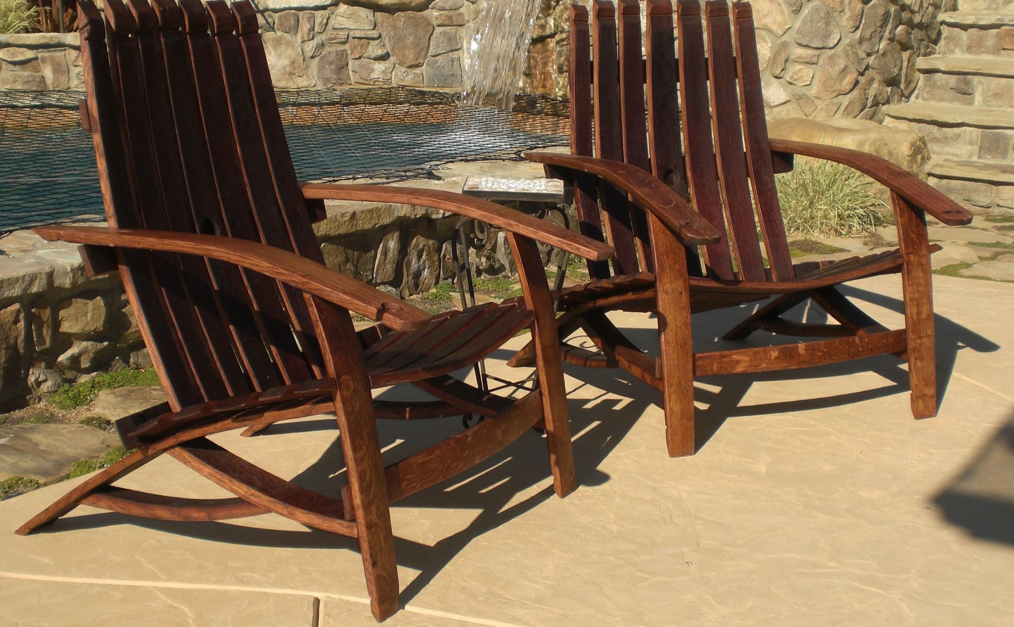 Handcrafted Lounge Chairs with Wine Holders