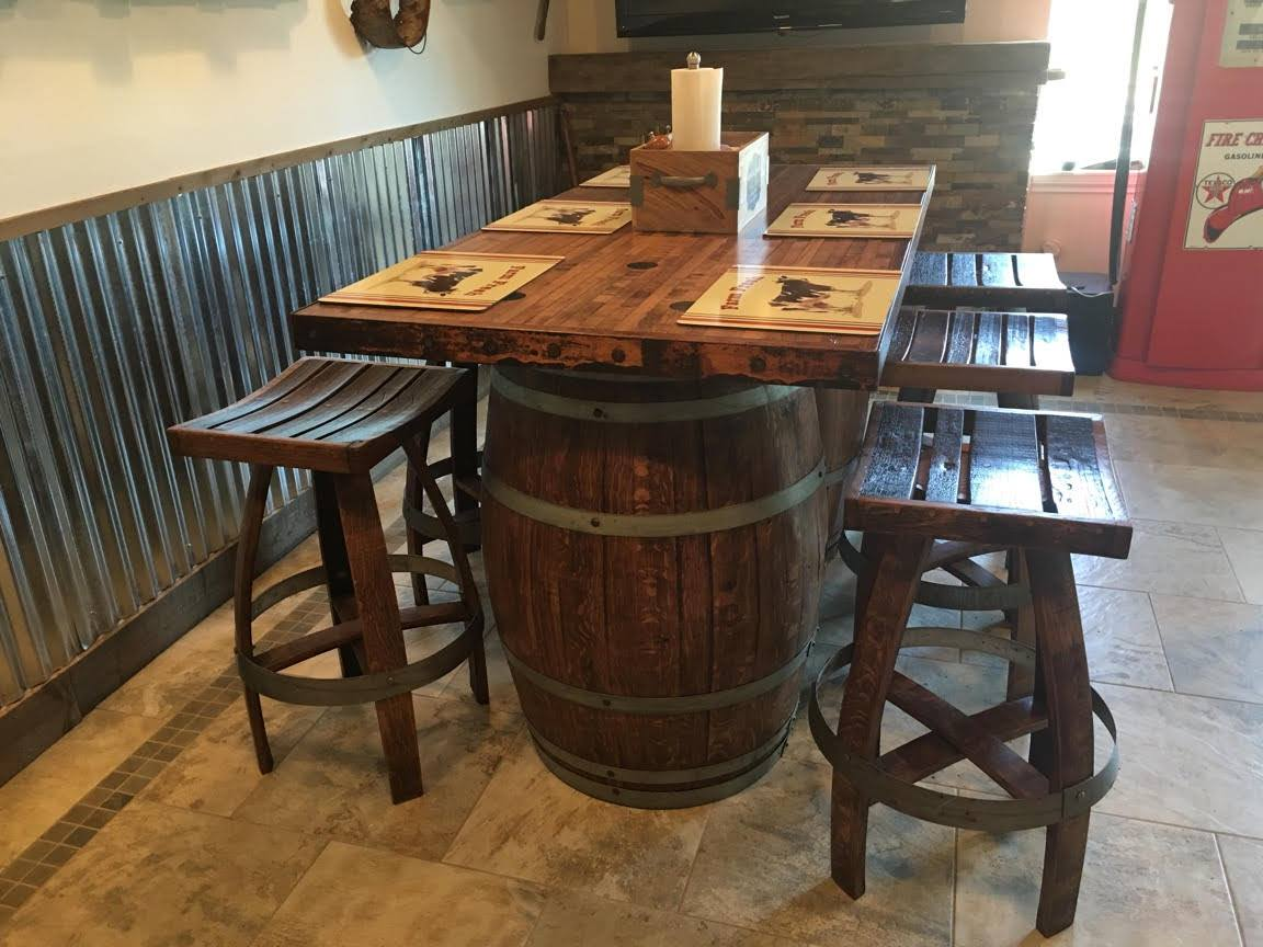 Double Barrel Six Seat Pub Table shown with Matching Stools