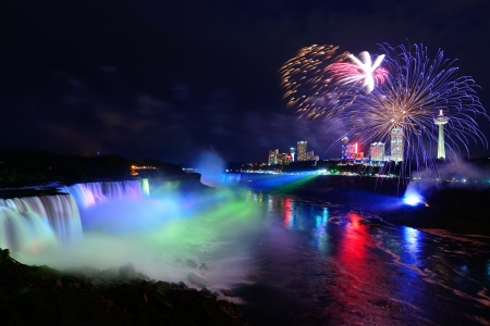 Spectacular Niagara Falls at night on the Canadian side. :-)