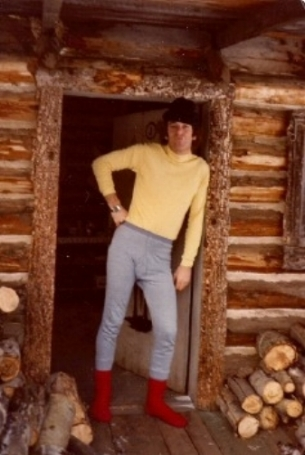 Alex getting dressed for a day of x-country skiing in the Cariboo in 1978