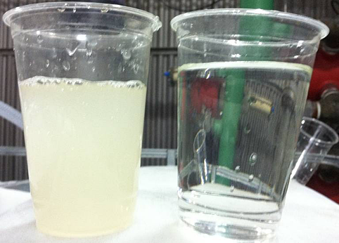 Thawing Water: Feed (left) and Filtrate (right)