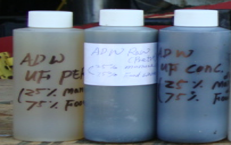 Anaerobic digestate treatment: Filtrate (left), Feed (center), and concentrate (right)