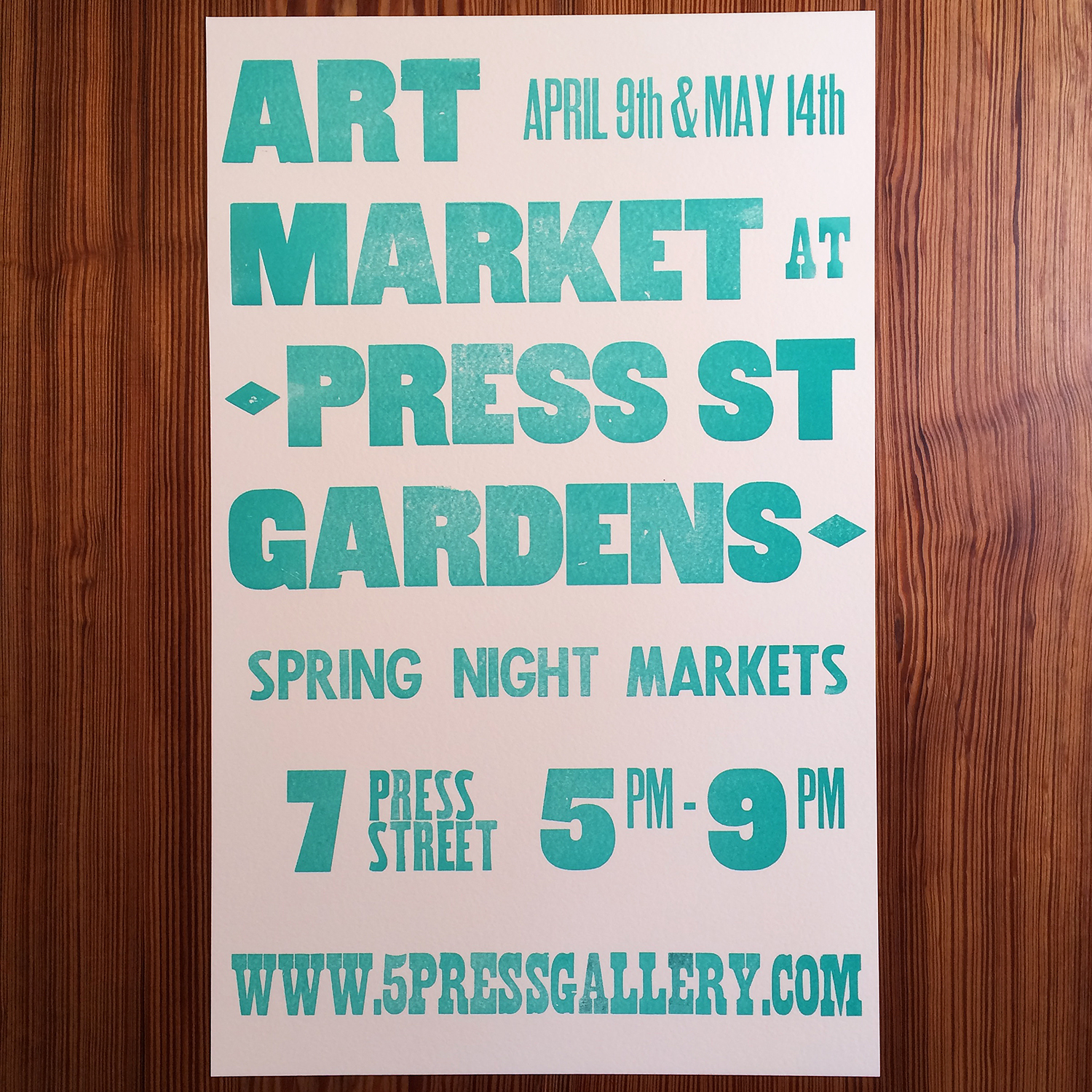 Art Market - 5 Press Gallery - Letterpress Wood Type Poster.jpg