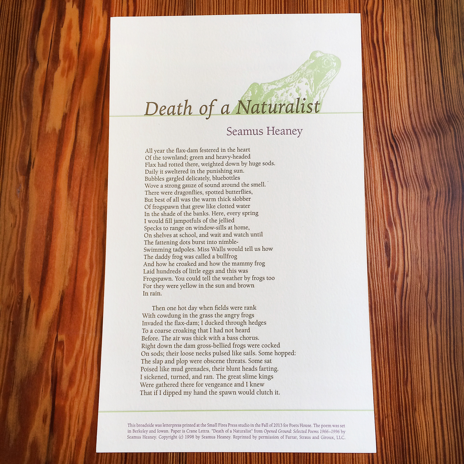 Death of a Naturalist - Seamus Heaney - Letterpress Broadside - Poets House.jpg