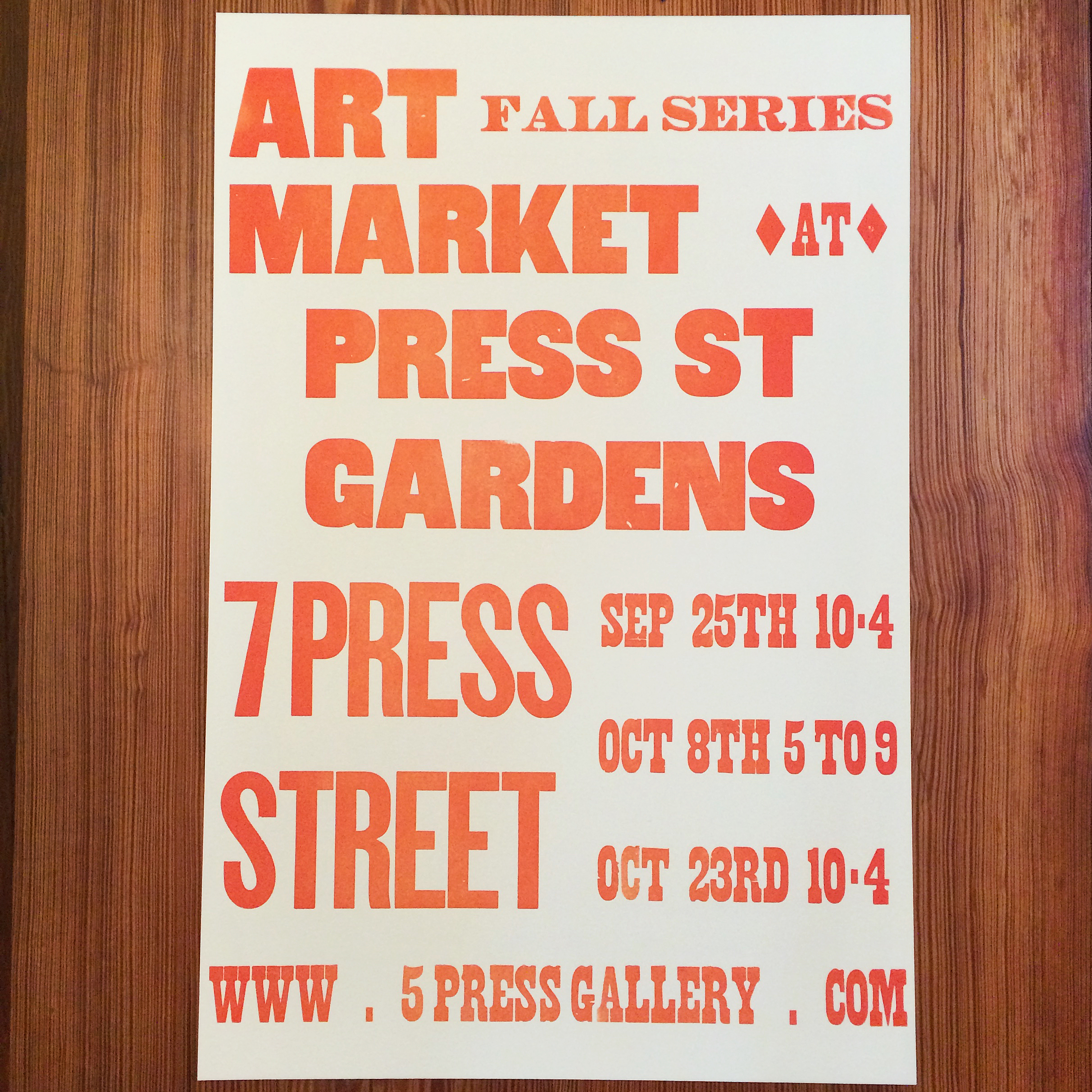 Art Market - Fall Series - 5 Press Gallery - Wood Type - Letterpress Poster.jpg
