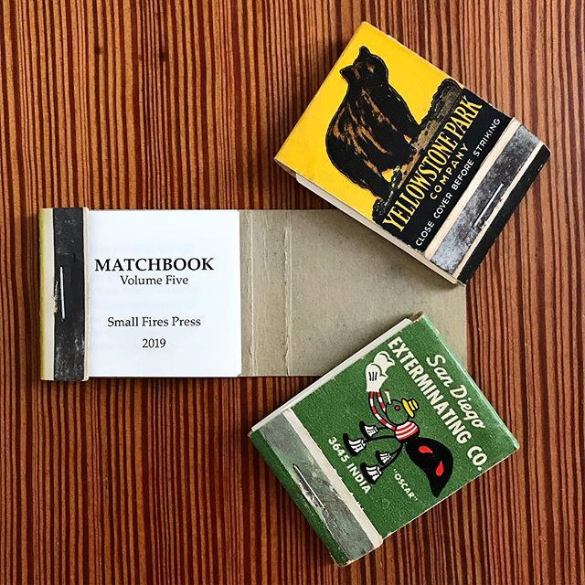 Matchbook Volume 5 is available! Every issue is bound in a different vintage matchbook cover. This issue features artists Christie Kwan & Sarah Bryant along with work from Melissa Dickey, Tony Mancus, Jennifer Paccione, Anthony Pizzo, Laura Mullen, Bronwen Tate, Danilo John Thomas, Andy Young, & Garth Graeper.  #matchbookmagazine #established2004 #smallfirespress #poetry #art #microbook #miniaturebook #design #letterpress