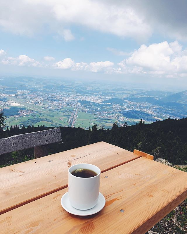 Last week I woke on a grey morning before a day in the kitchen with a specific craving: tea on a mountain. At the time I had no idea where it came from, a dream, it seemed impossible. Here I am days later in Austria, at an elevation of 1,700 m above sea level, on a mountain with a history of disappearance, reappearance, time slips, with my cup of tea (yes, this mountain also starred in The Sound of Music). Danke schön to @where.about.now for my little Salzburg holiday.