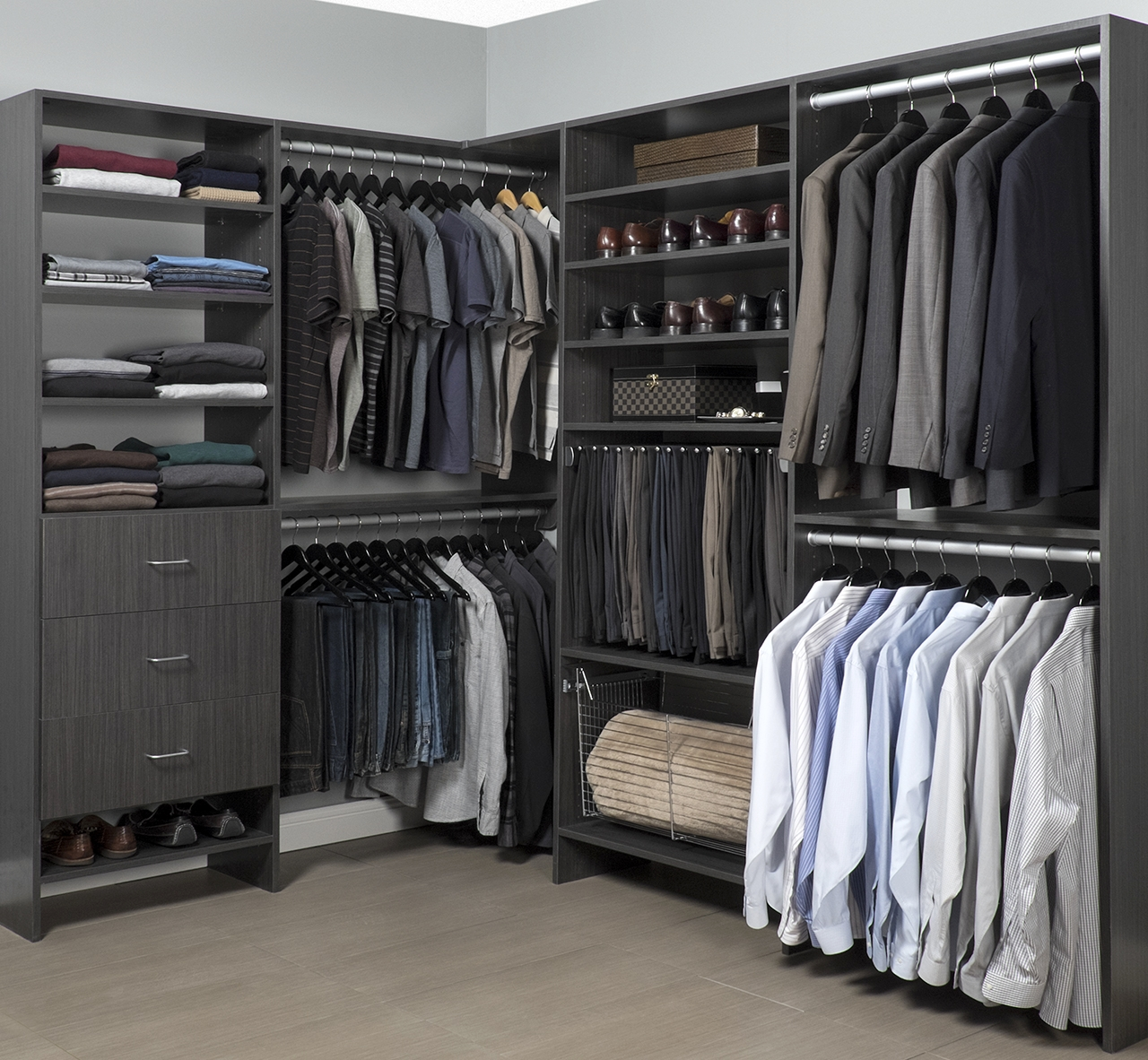 If possible, simplify your space by leaving the top of your closet shelving and the floor of your closet clear.