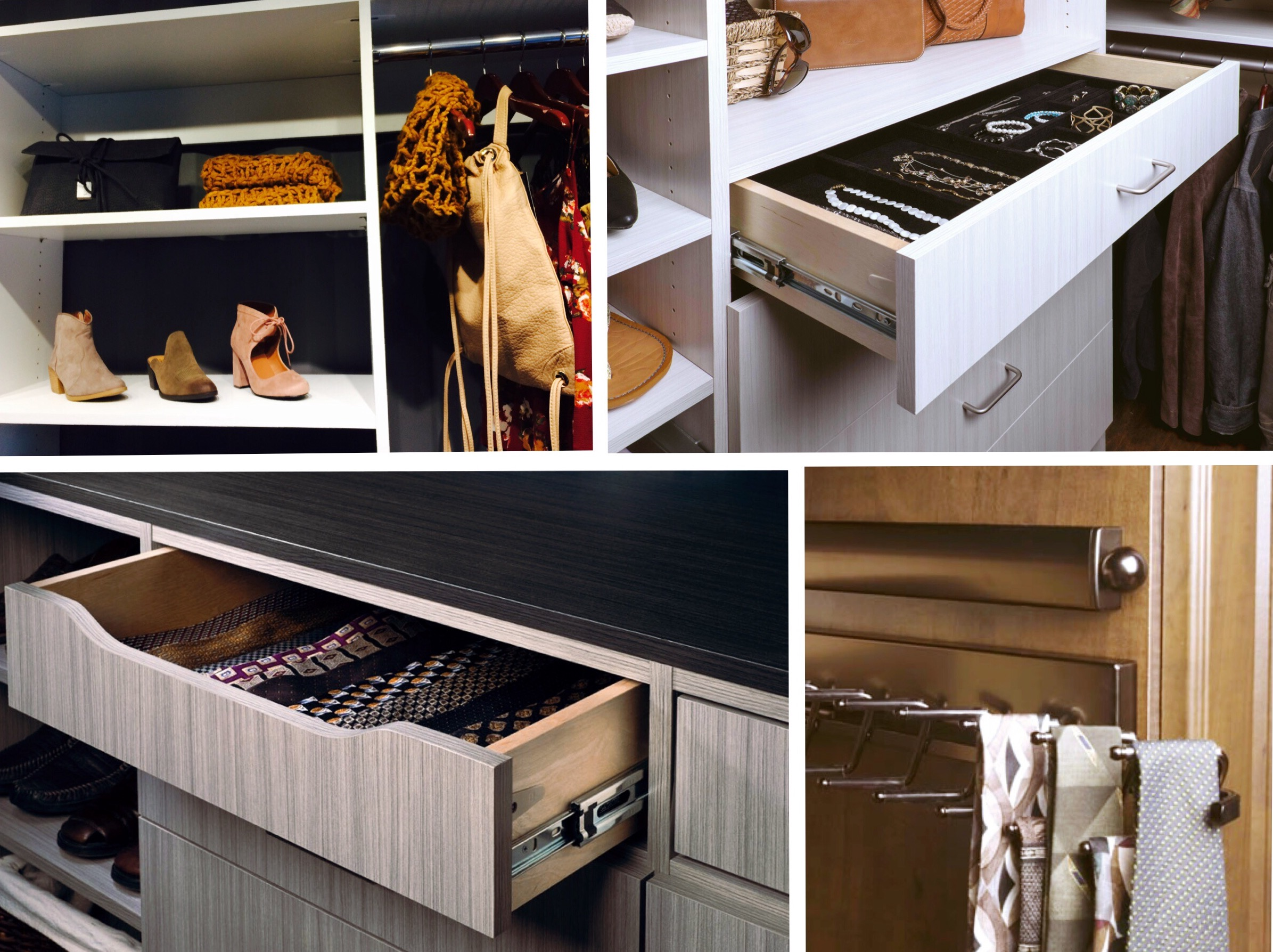 Custom closets by Closets of Tulsa create a system for everything you need to store.  Call Closets of Tulsa  today for your FREE consultation and 3-D closet design:  918.609.0214