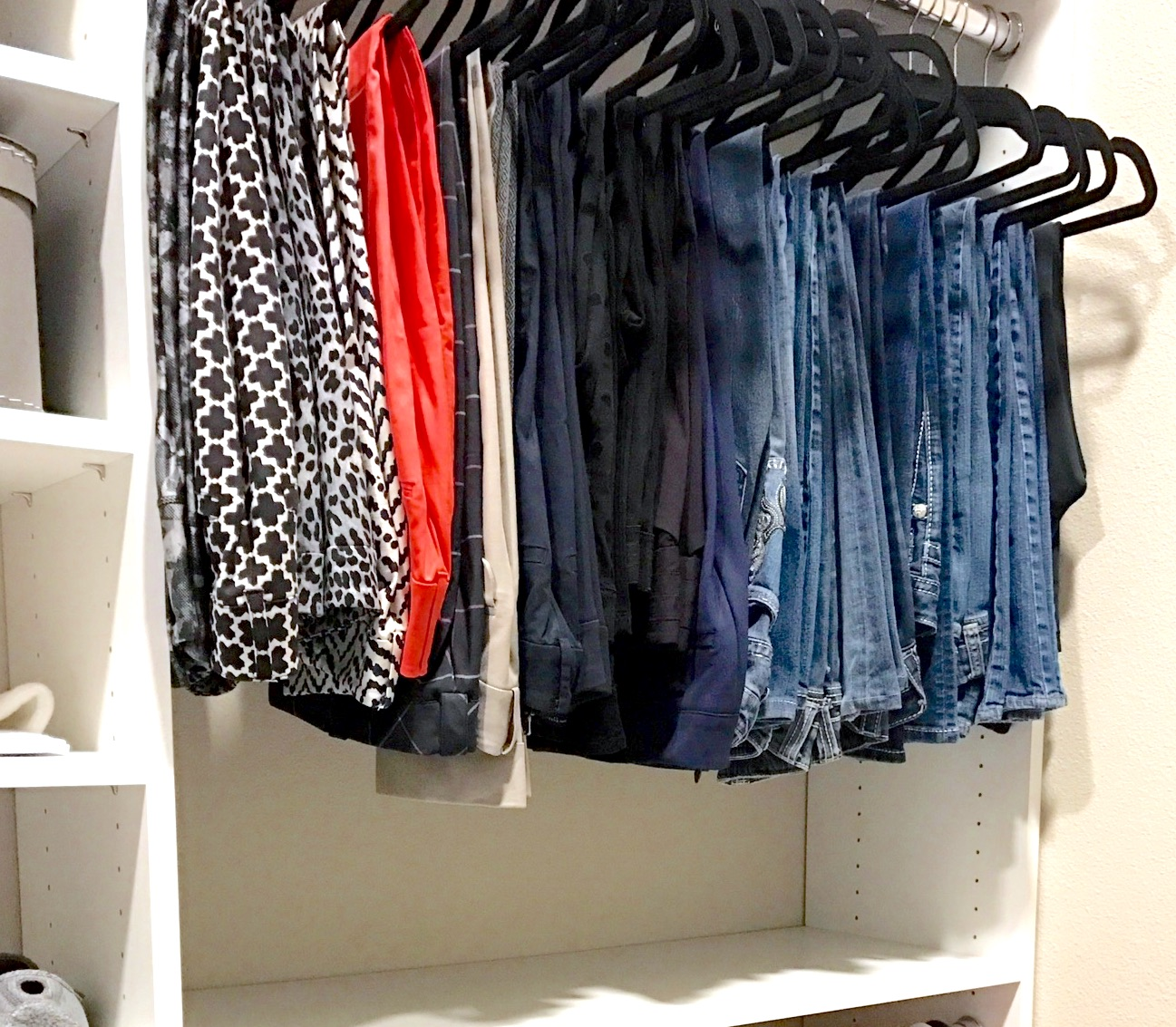 Felt hangers, also known as velvet hangers or Huggable Hangers, provide efficient, uniform storage for jeans and slacks. Get 15% off a variety of felt hangers and free shipping at  Hangers.com  with promo code TULSA.