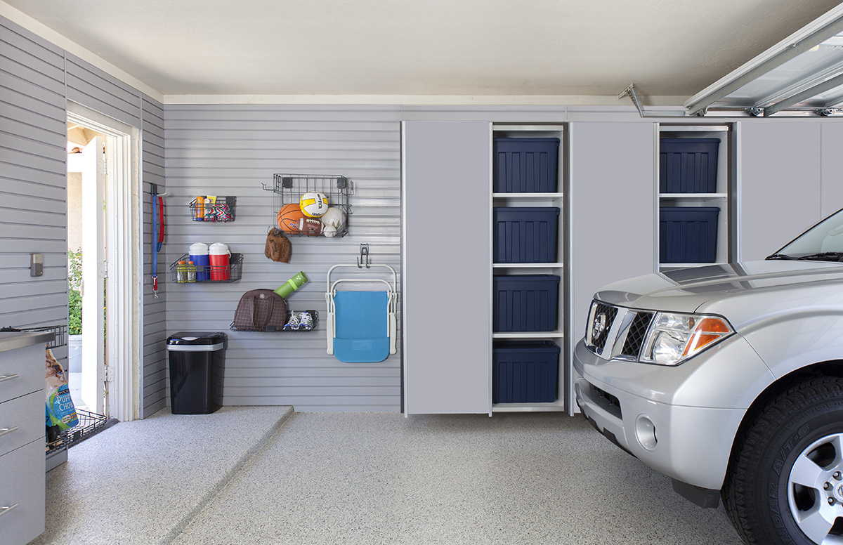 A garage slatwall makes it quick and easy to get the whole family out the door.  Call Closets of Tulsa  today for a FREE consultation and 3-D garage design:  918.609.0214